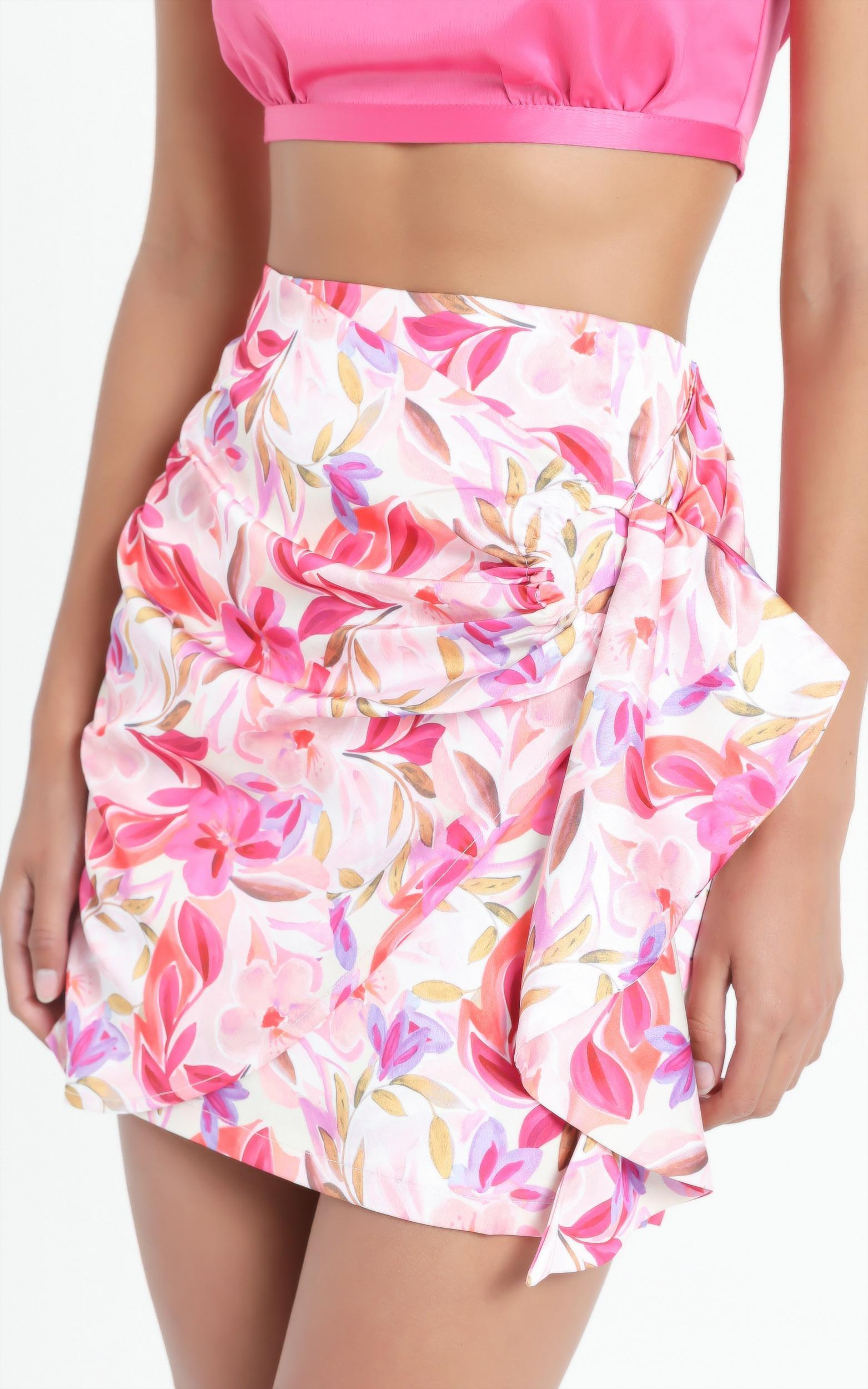 Becky Mini Skirt in Eventful Bloom - 6 (XS), Pink, hi-res image number null