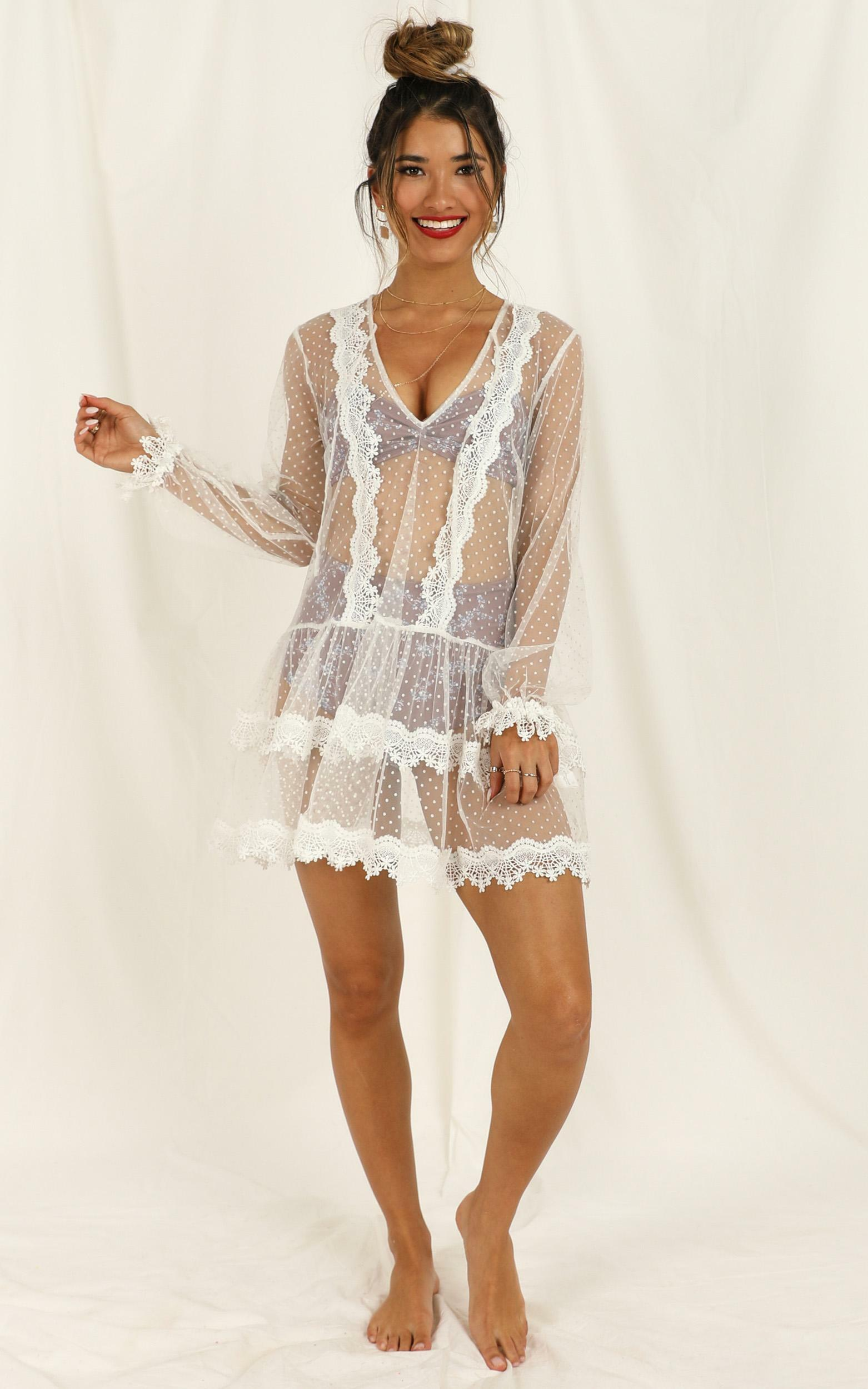 Summer Frolick Dress in white spot - 14 (XL), White, hi-res image number null