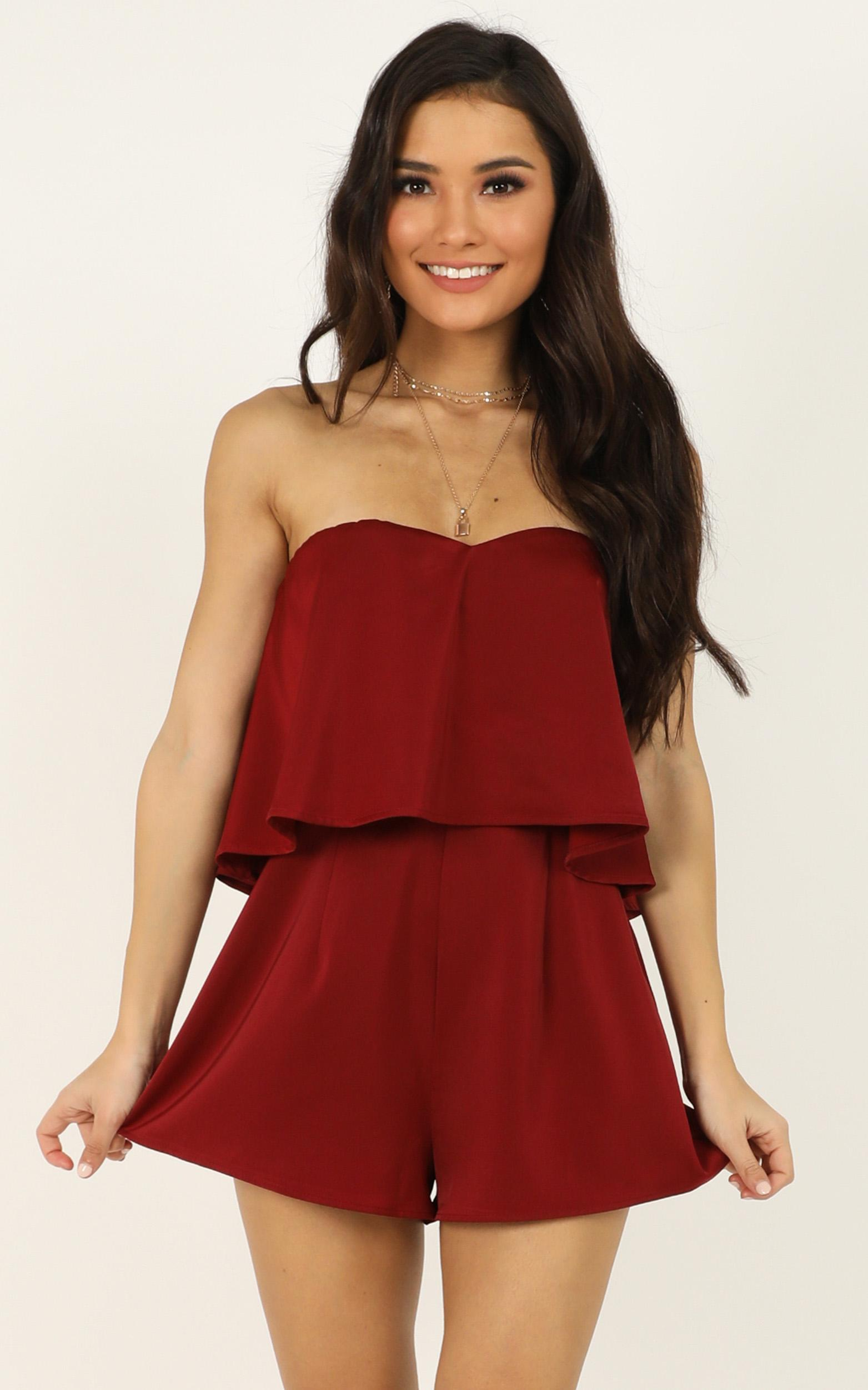 Your Smile Is Like A Breath Of Spring Playsuit in wine - 20 (XXXXL), Wine, hi-res image number null