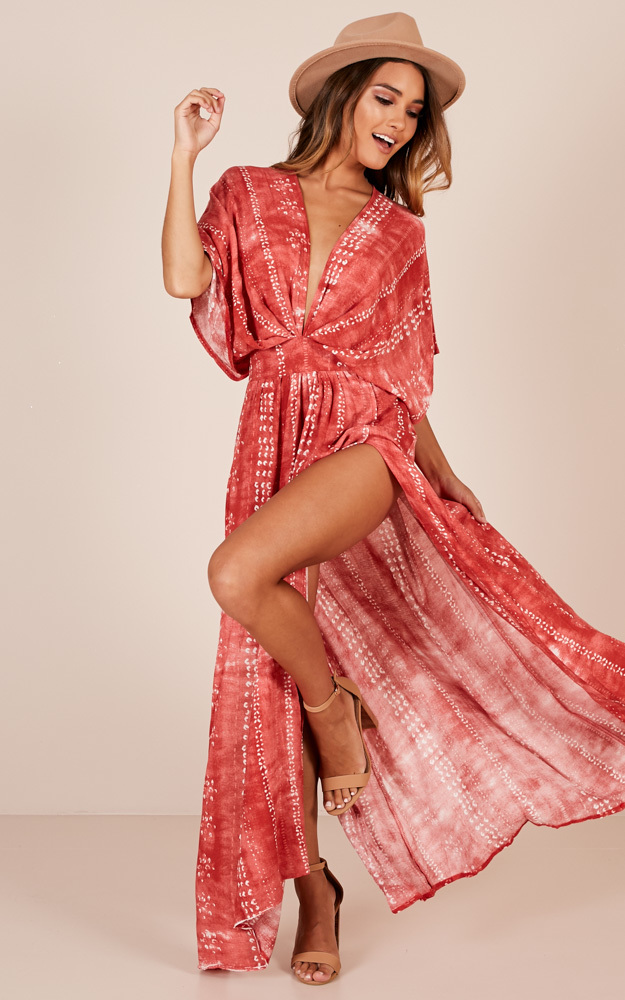 Vacay Ready maxi dress in rust tie dye - 12 (L), Red, hi-res image number null