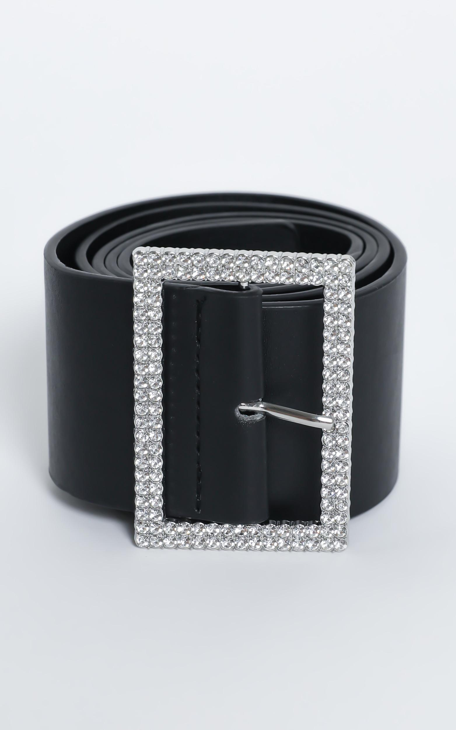 Make It Special Belt in Black and Diamante, , hi-res image number null