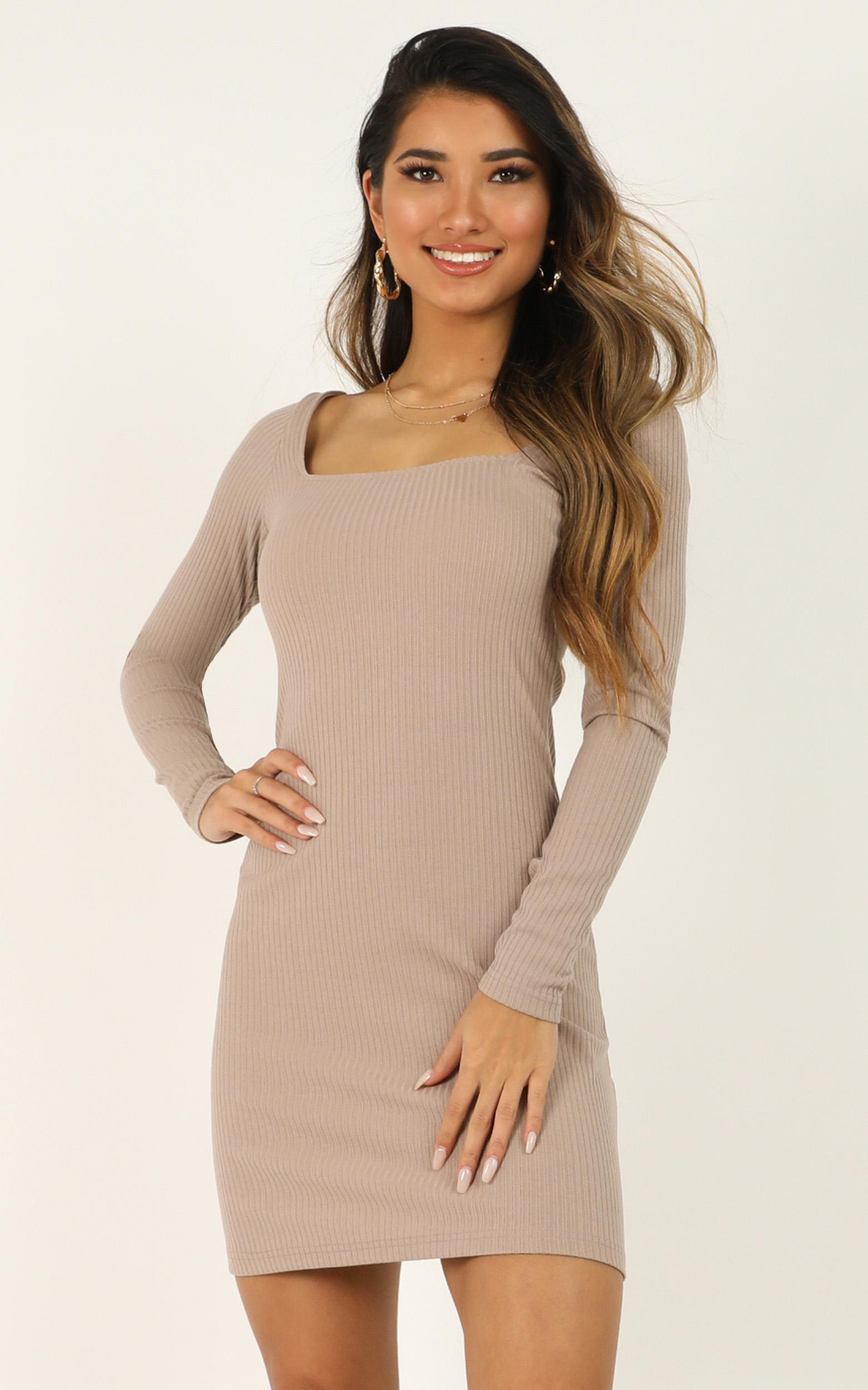 Ticking By Dress in mocha - 20 (XXXXL), Mocha, hi-res image number null