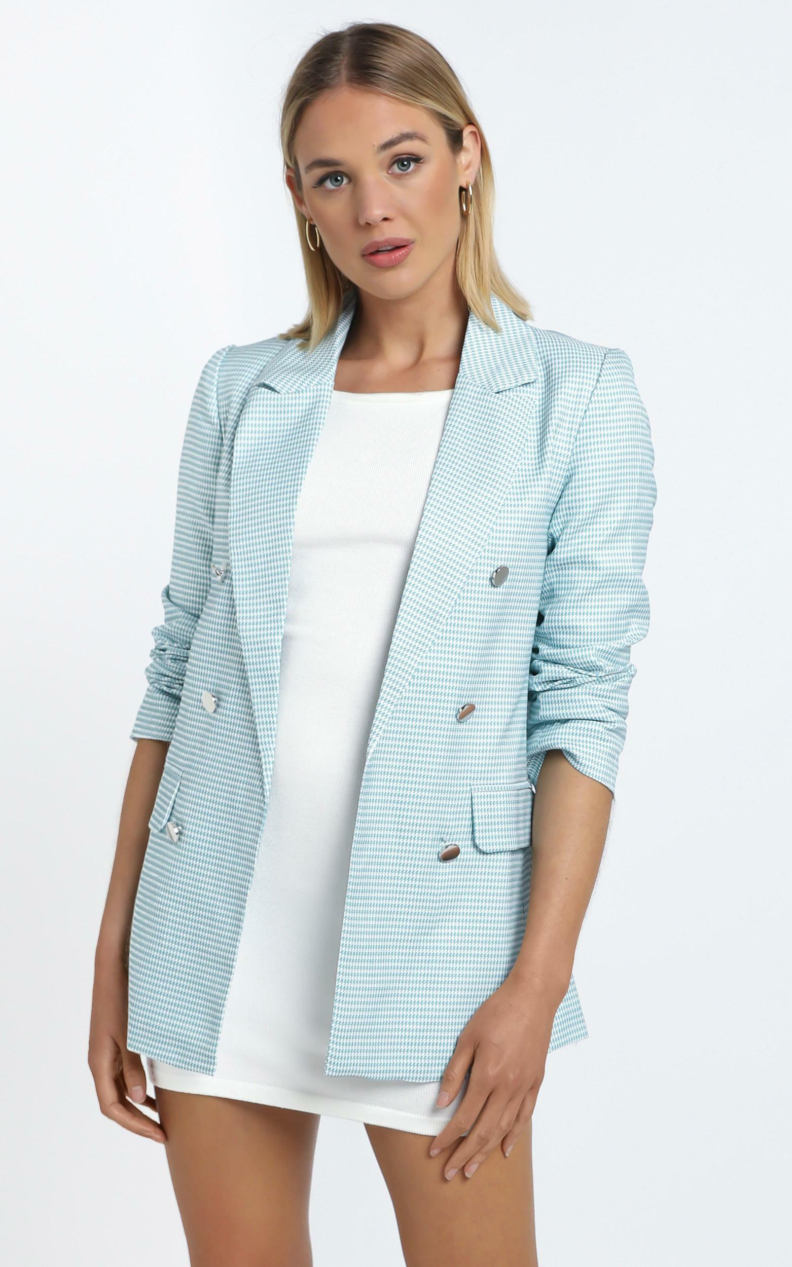 Evanna Blazer in Blue Check - 12 (L), Blue, hi-res image number null