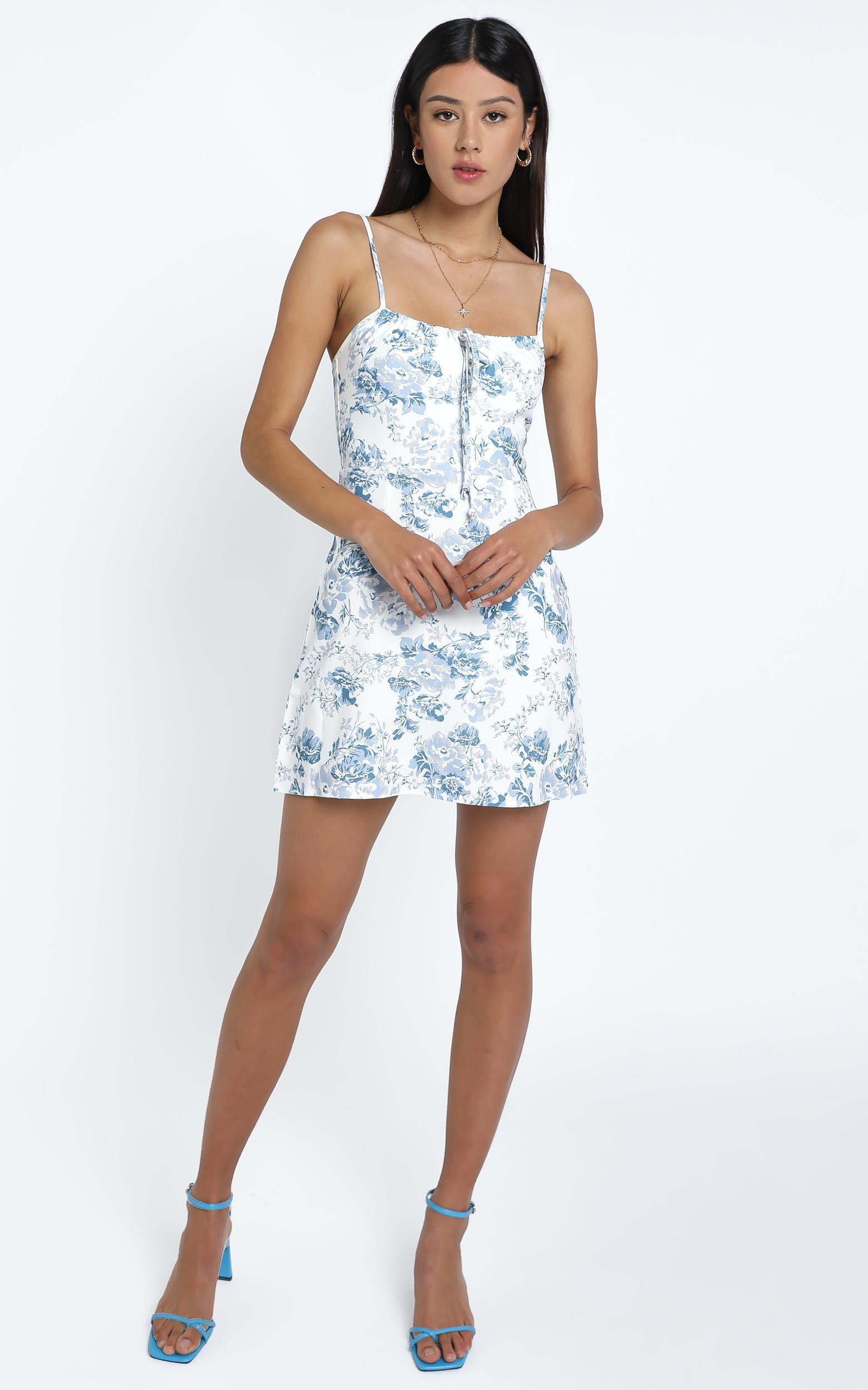 Antonia Dress in Blue Floral - 12 (L), Blue, hi-res image number null