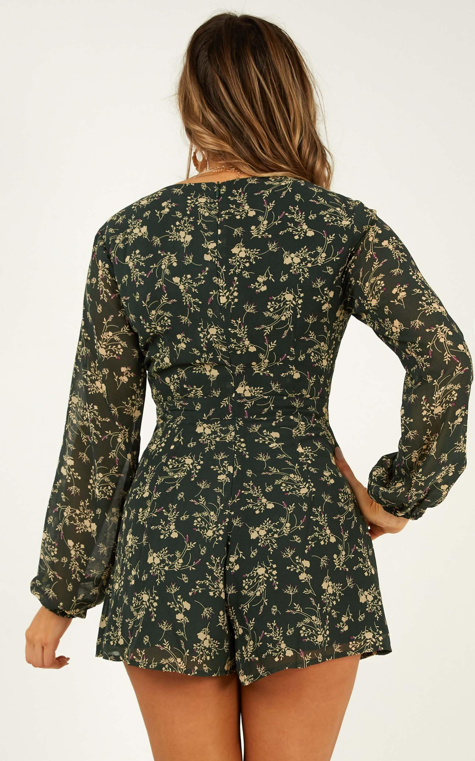 Cute Girl Playsuit in emerald floral - 16 (XXL), Green, hi-res image number null