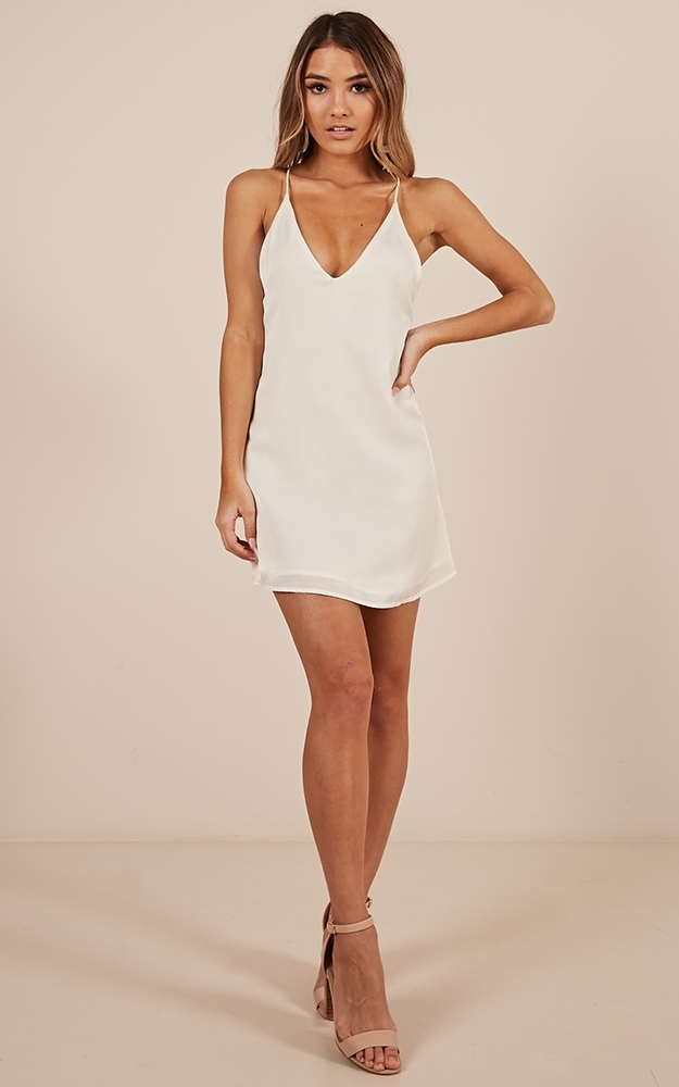 Mean so Much dress in white satin - 8 (S), White, hi-res image number null