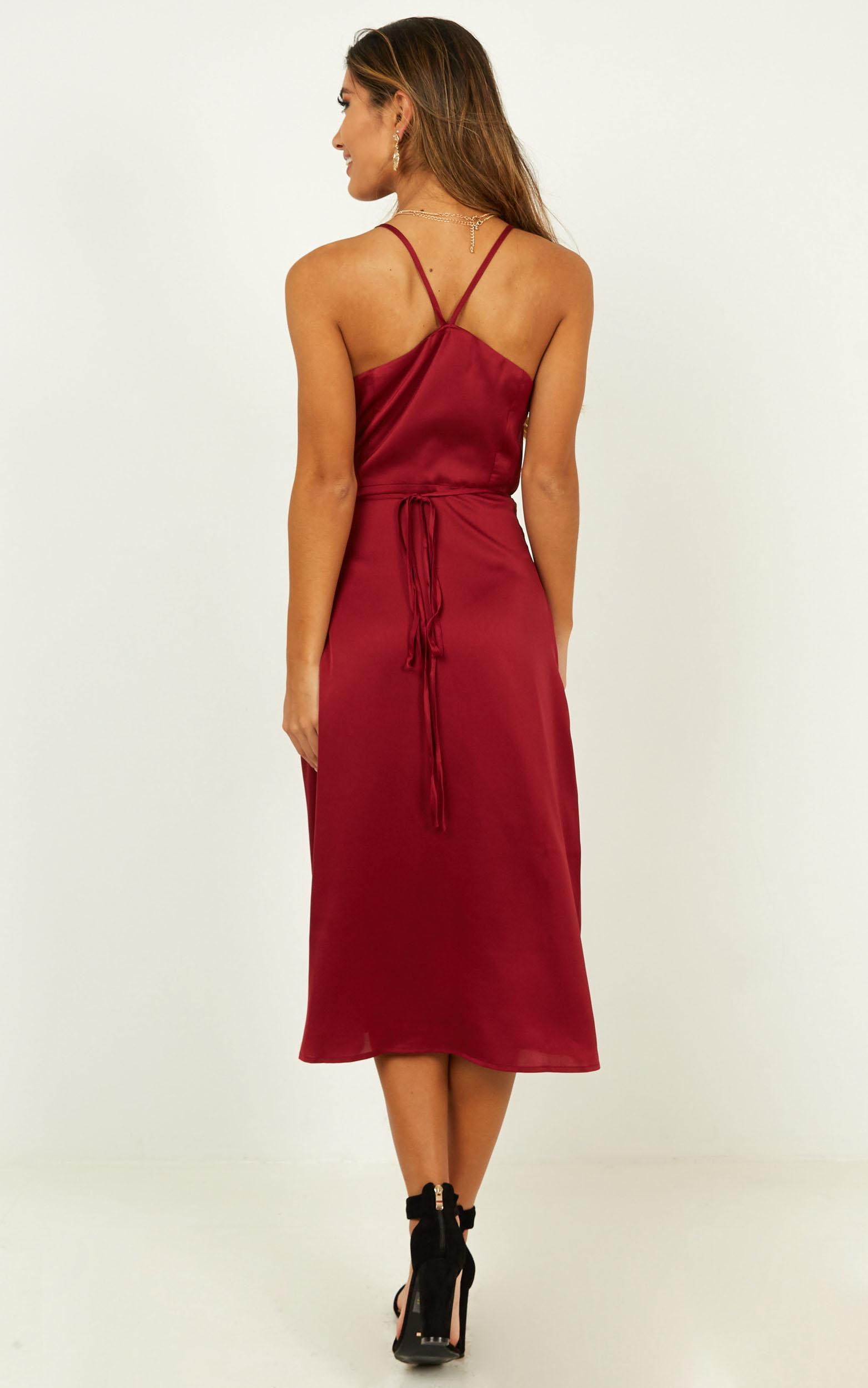 Heart Throbbing Dress in wine satin - 20 (XXXXL), Wine, hi-res image number null