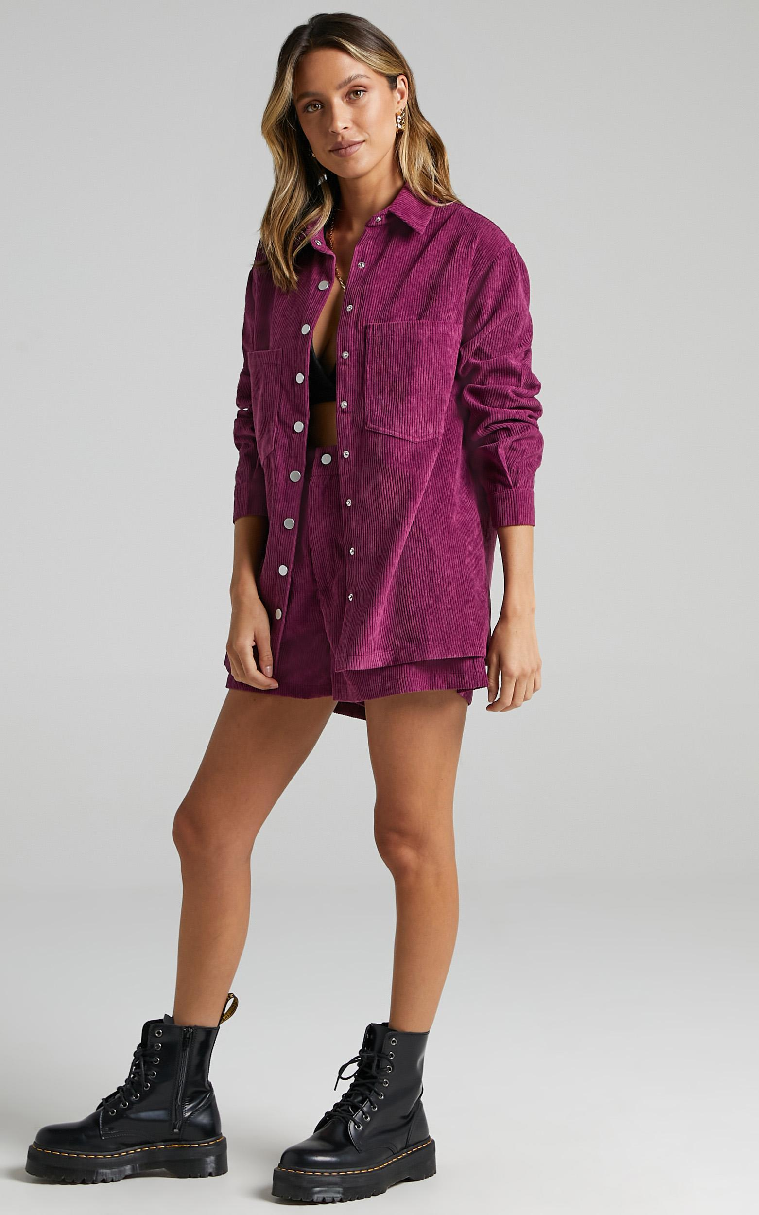 Hillevi Shacket in Mulberry Cord - 4 (XXS), Purple, hi-res image number null
