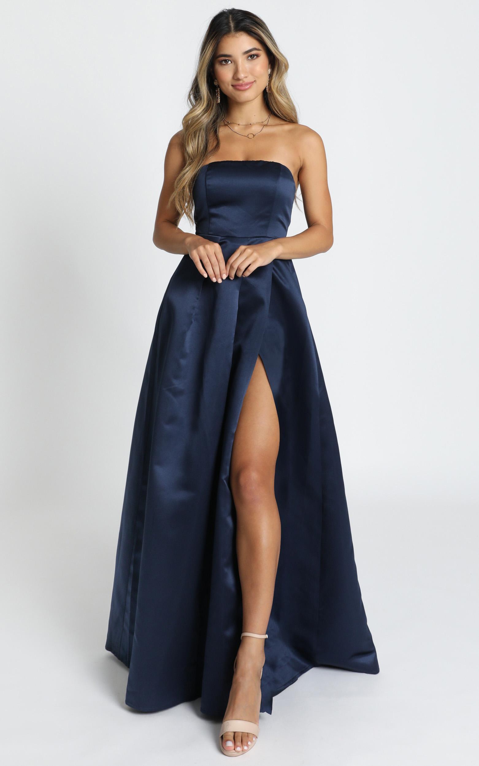 Queen Of The Show Dress In navy satin - 20 (XXXXL), Navy, hi-res image number null