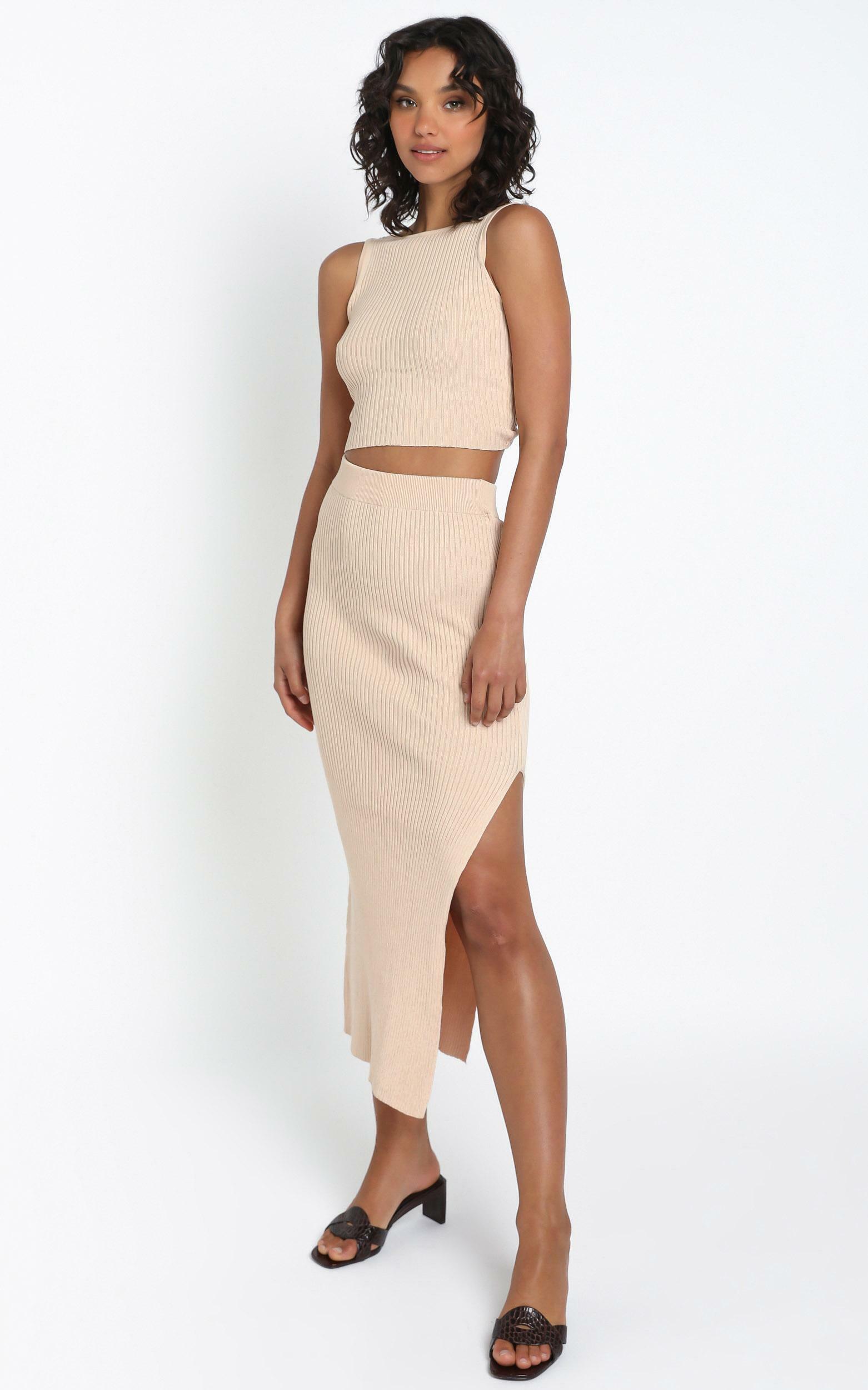 Hana Knit Skirt in Beige - 12 (L), CRE1, hi-res image number null