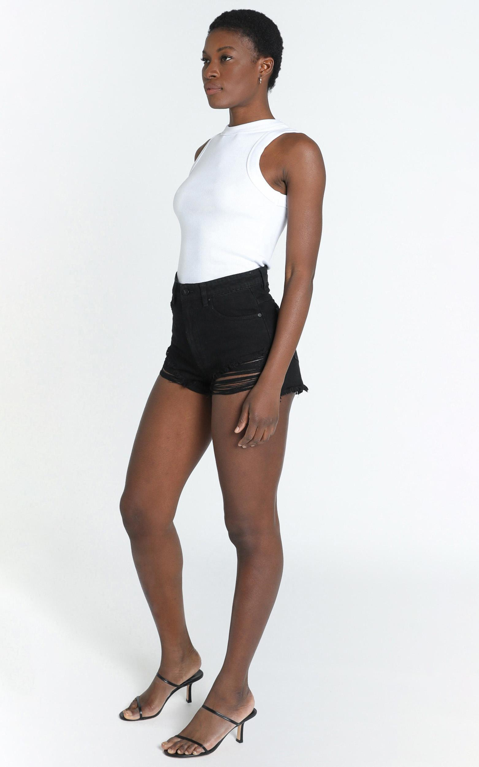 Abrand - A High Relaxed Denim Shorts in salty black - 6 (XS), Black, hi-res image number null