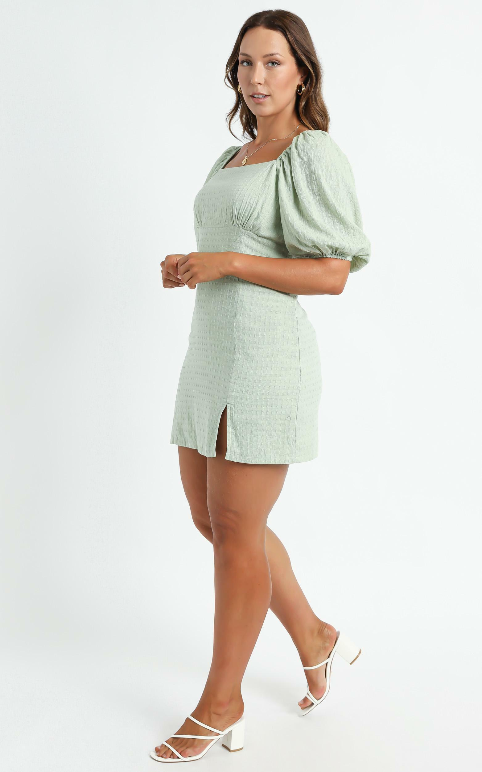 Electric Babe Square Neck Puff Sleeve Mini Dress in Sage - 16, GRN3, hi-res image number null