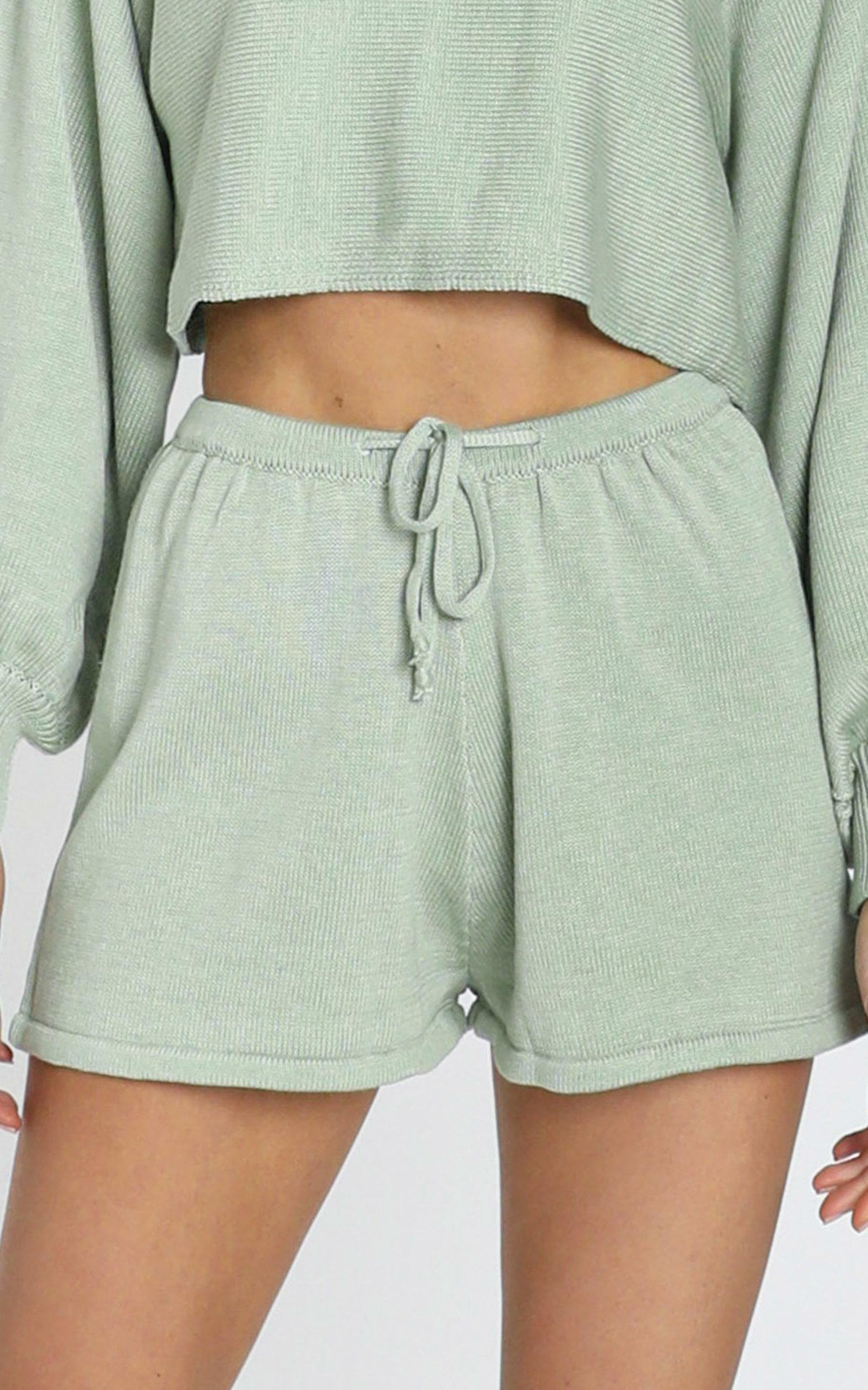 Hartley Knitted Shorts in Sage, Sage, hi-res image number null