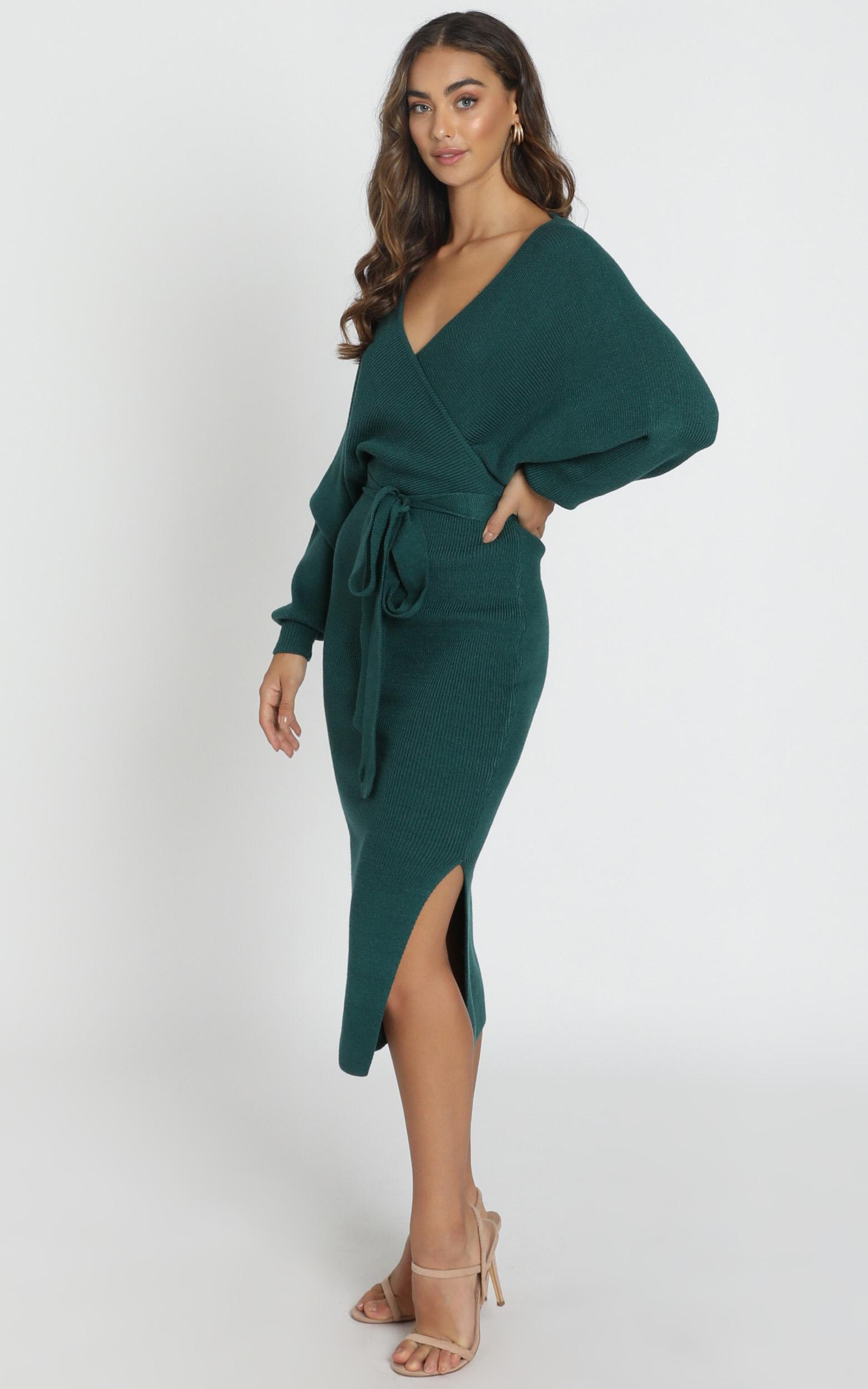 Over The World knit dress in forest green - 6 (XS), Green, hi-res image number null