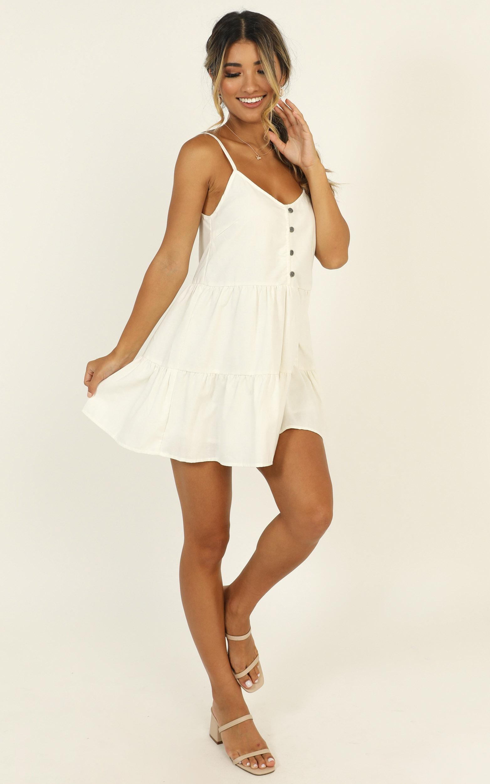 White Sands Strappy Mini Dress in white linen look - 14 (XL), White, hi-res image number null