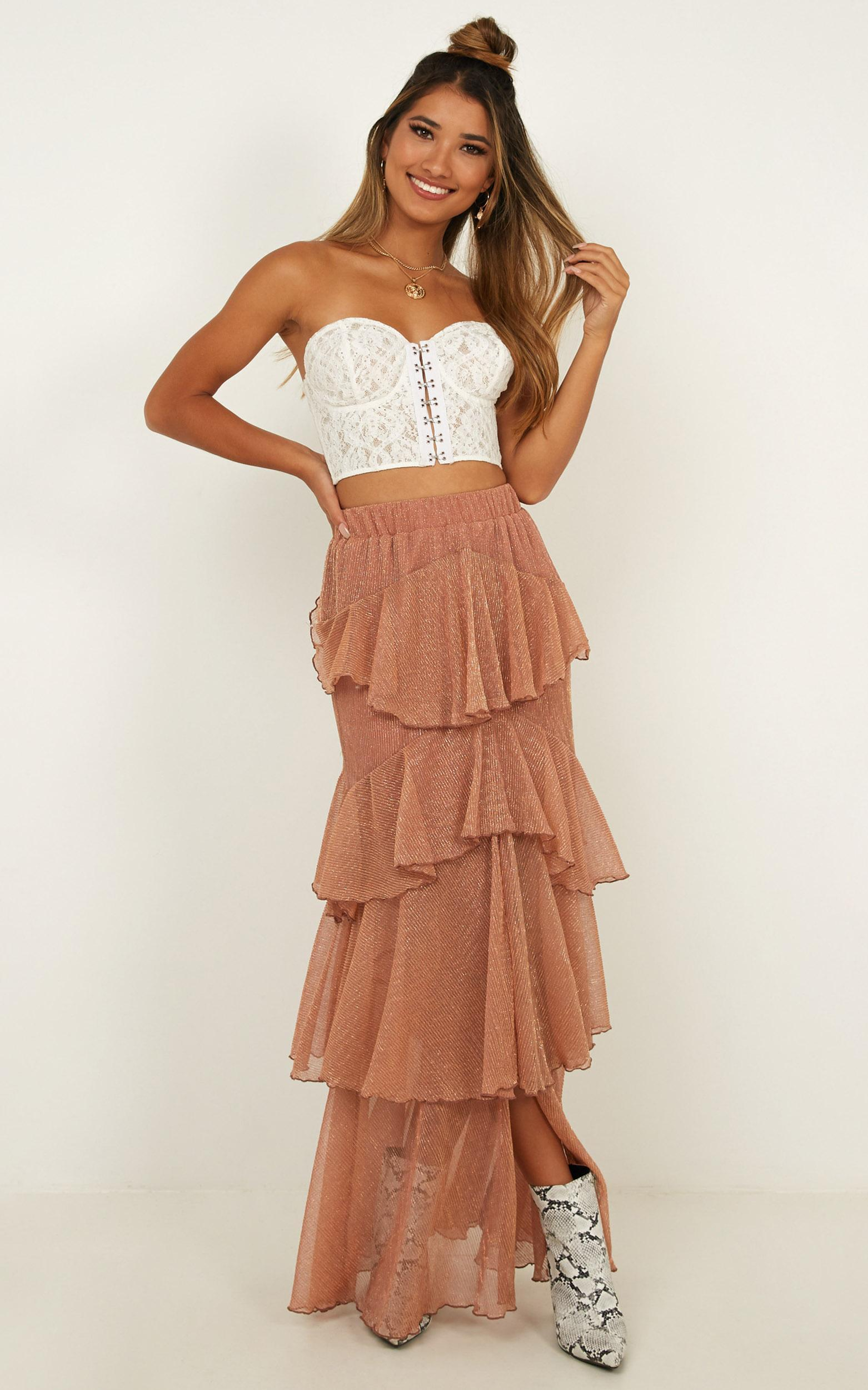 Storms and Saints Skirt in rose gold mesh - 12 (L), Rose Gold, hi-res image number null