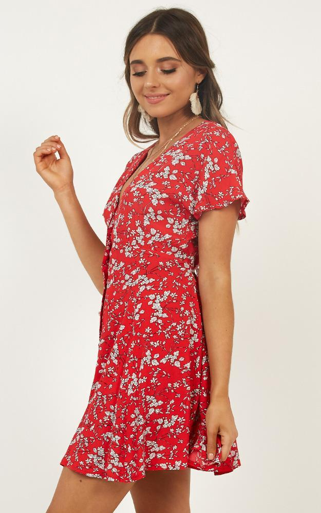 Break Away Dress in red floral - 6 (XS), Red, hi-res image number null