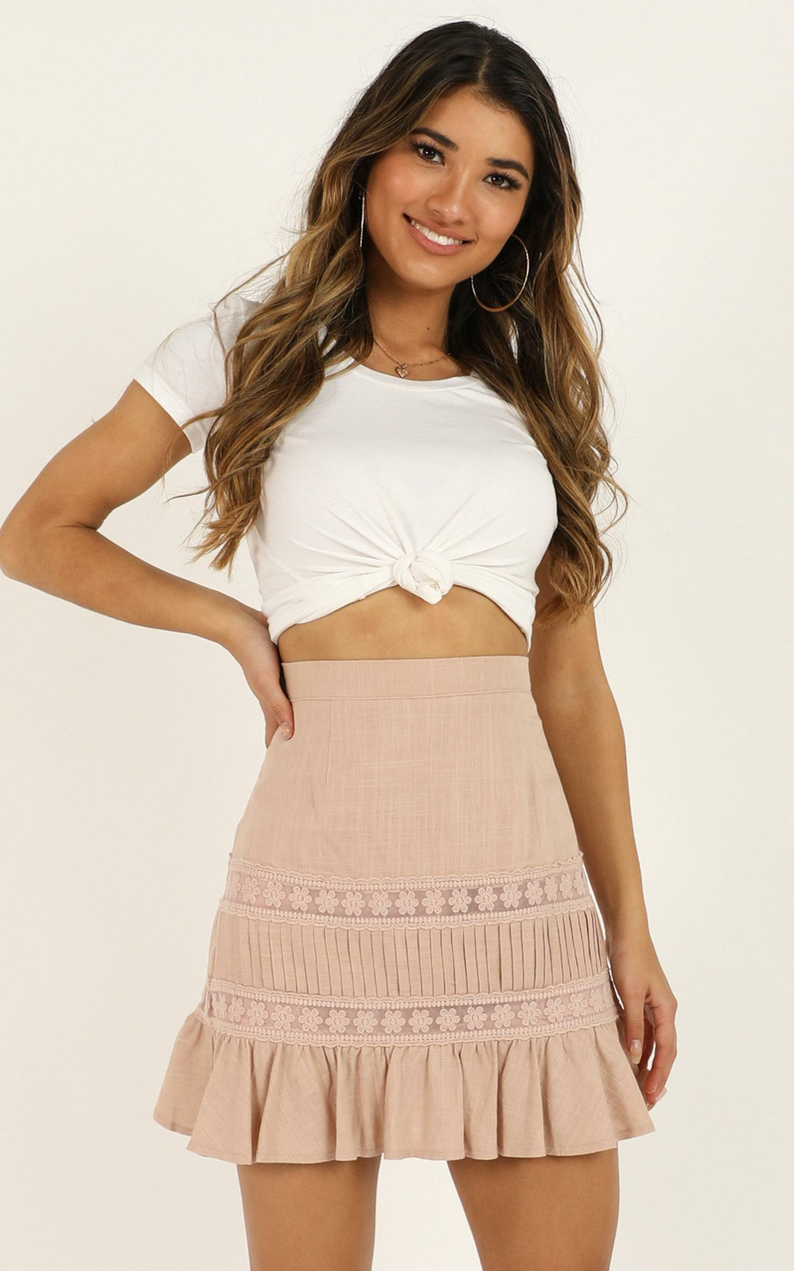 Leave It Here Skirt in blush linen look - 12 (L), Blush, hi-res image number null
