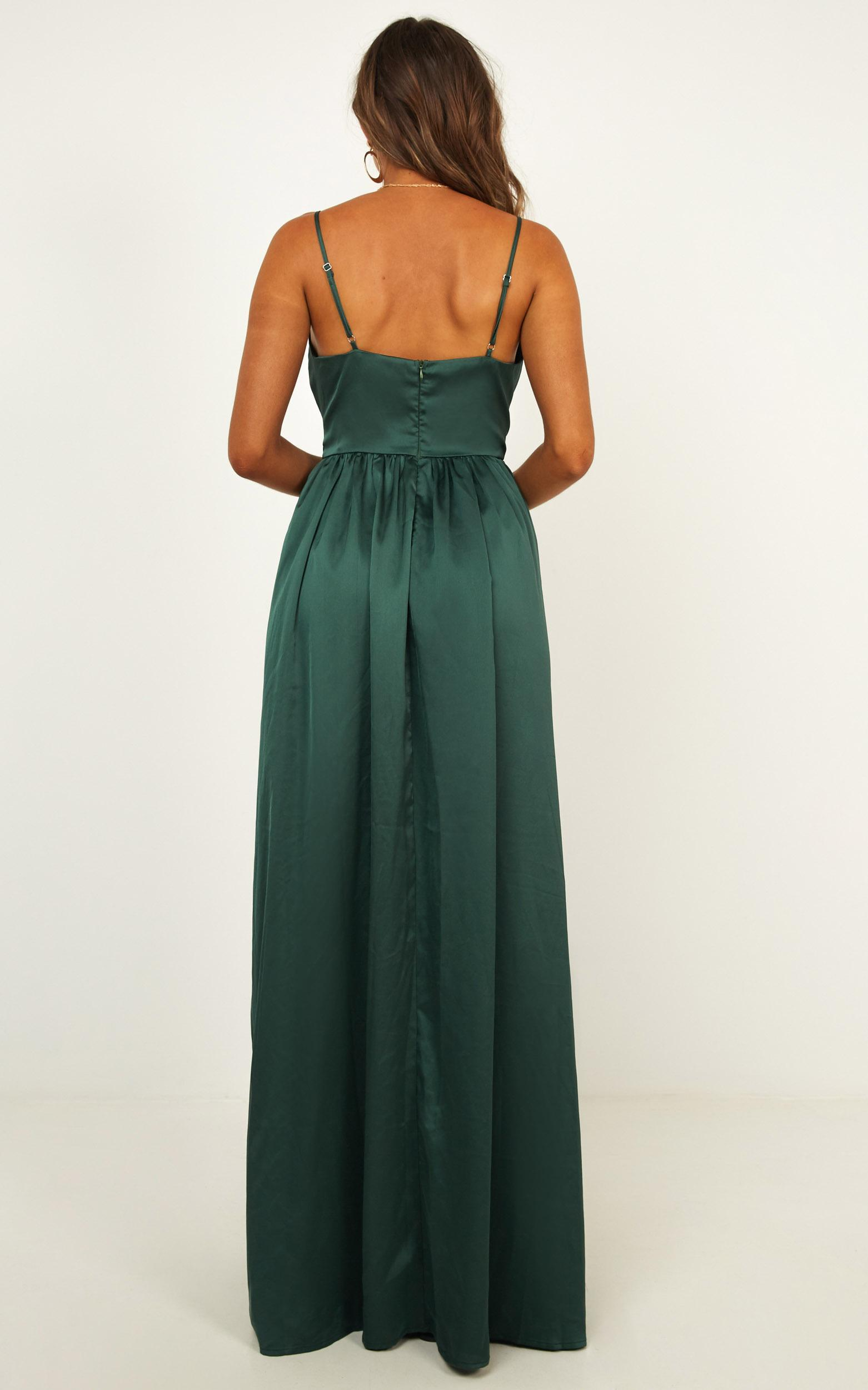 Miracle Worker Dress In Emerald Satin - 6 (XS), Green, hi-res image number null