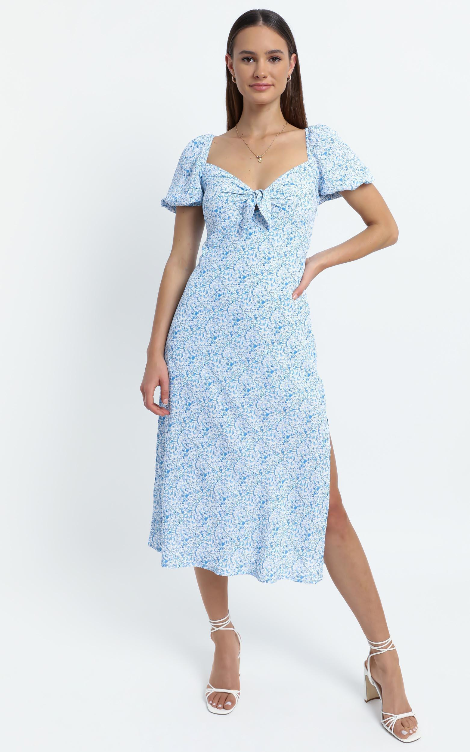 Brady Dress in Blue Floral - 6 (XS), Blue, hi-res image number null