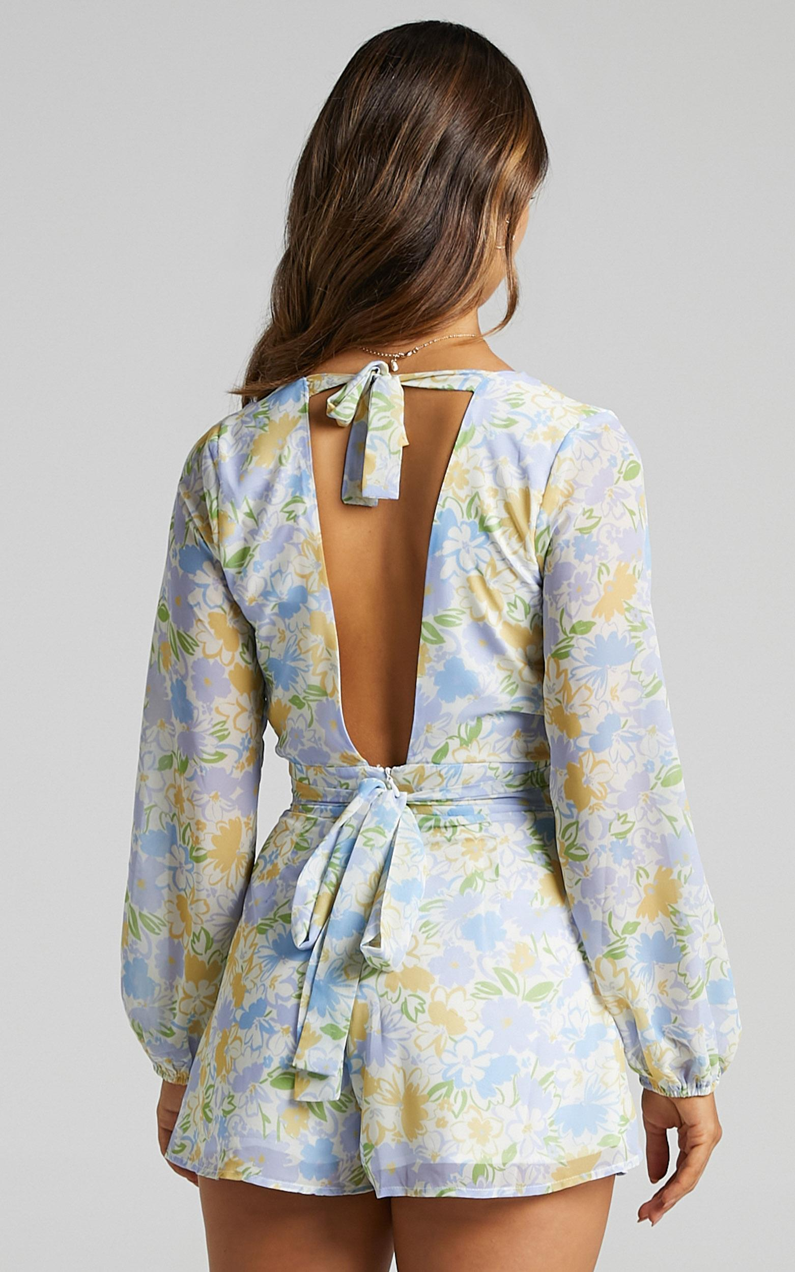 Wheels Bouncing Playsuit in Summer Petals - 4 (XXS), Multi, hi-res image number null