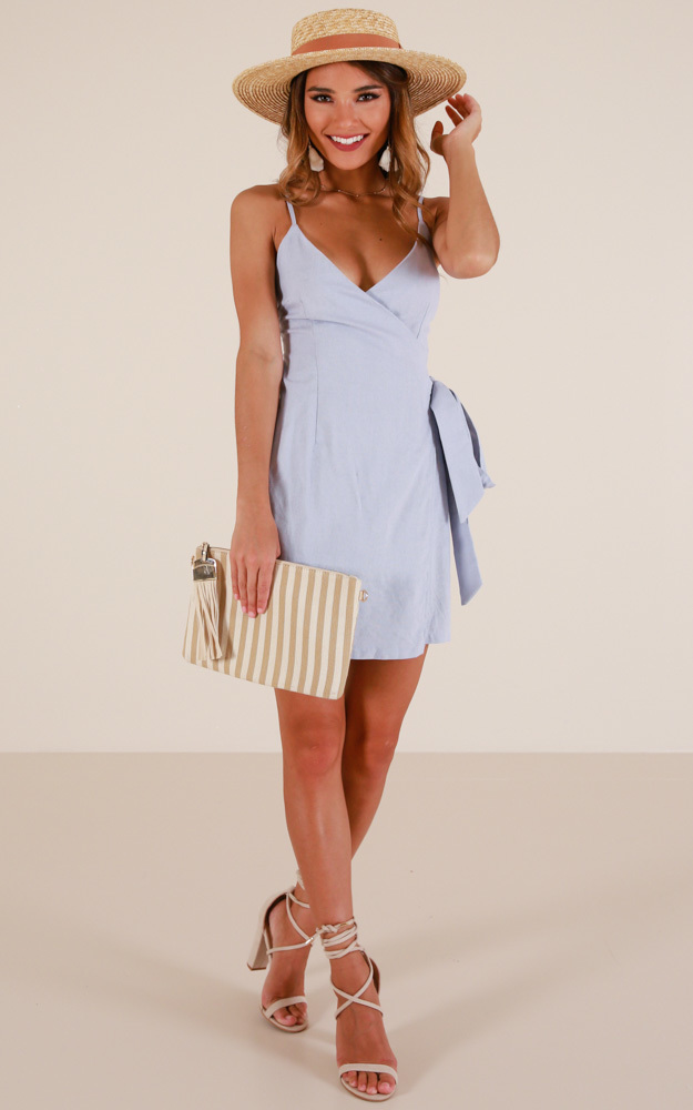 Seafront dress in blue linen look - 14 (XL), Blue, hi-res image number null