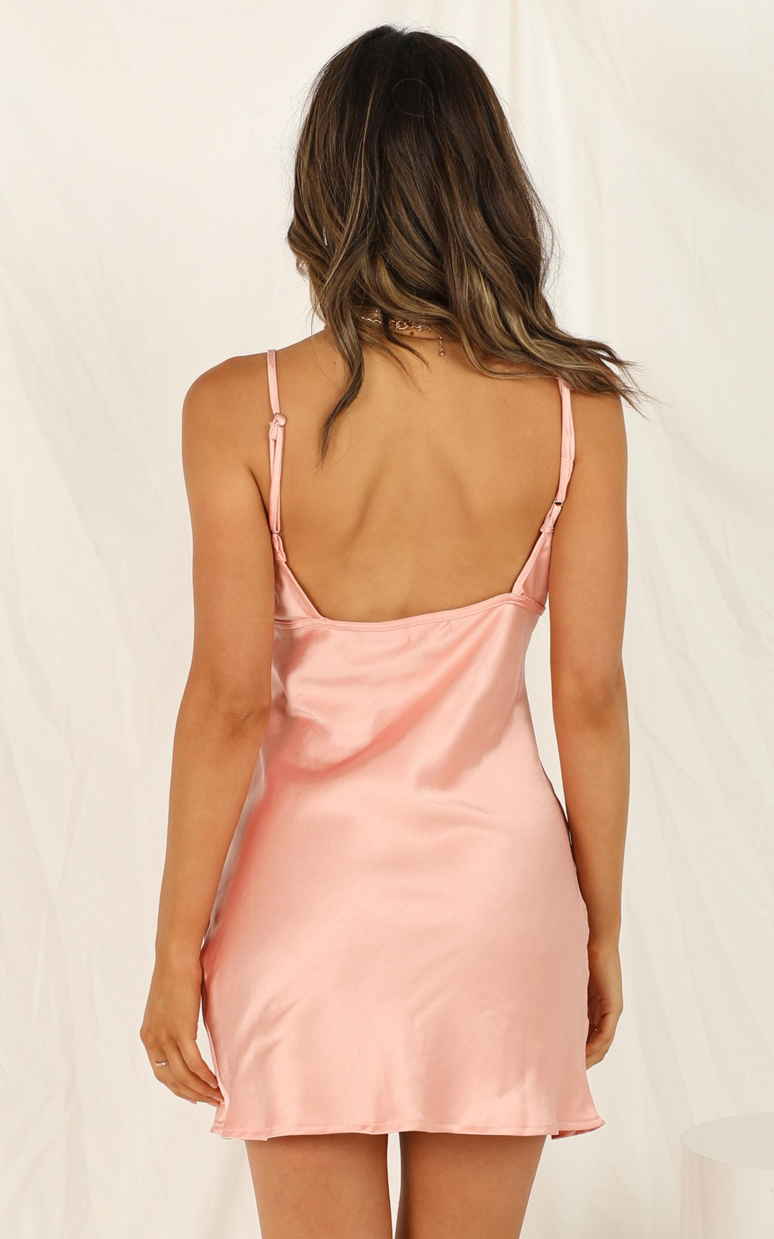Stay In Line dress in peach satin - 12 (L), Blush, hi-res image number null