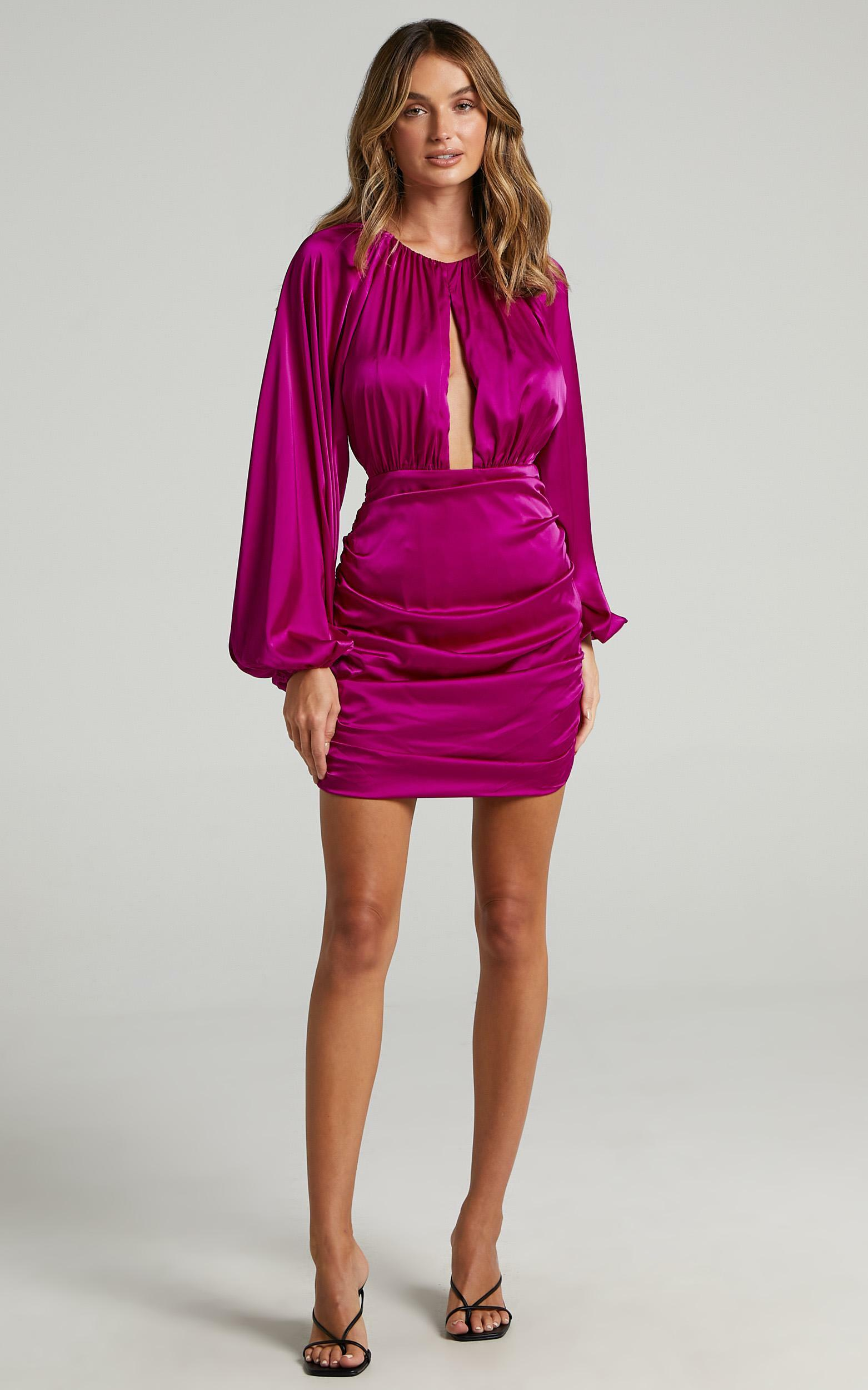 Ata Dress in Mulberry Satin - 6 (XS), Purple, hi-res image number null