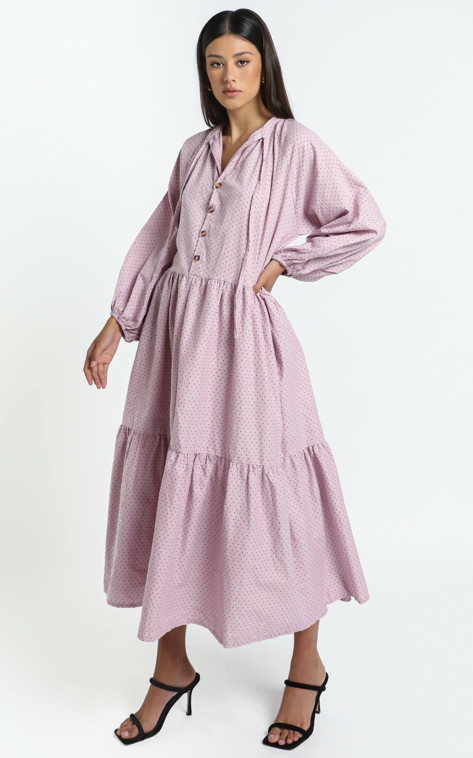 Lullaby Club - Avalon Maxi Dress in Mauve Polka Dots - L/XL, Purple, hi-res image number null