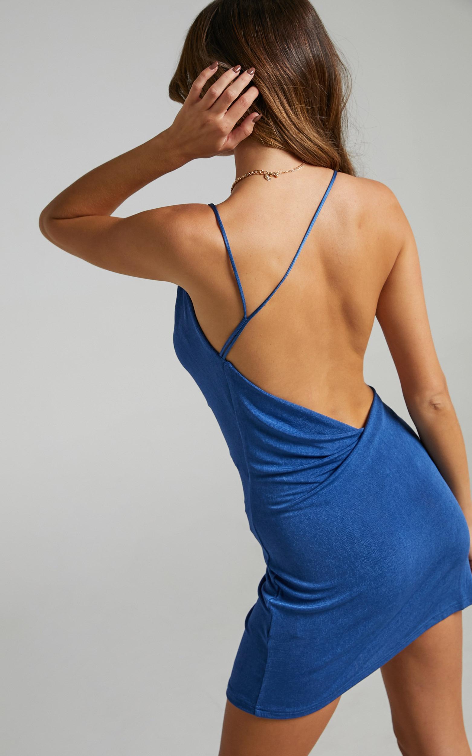 Veronnica Asymmetric Neck Mini Dress in Cobalt - 16, BLU1, hi-res image number null