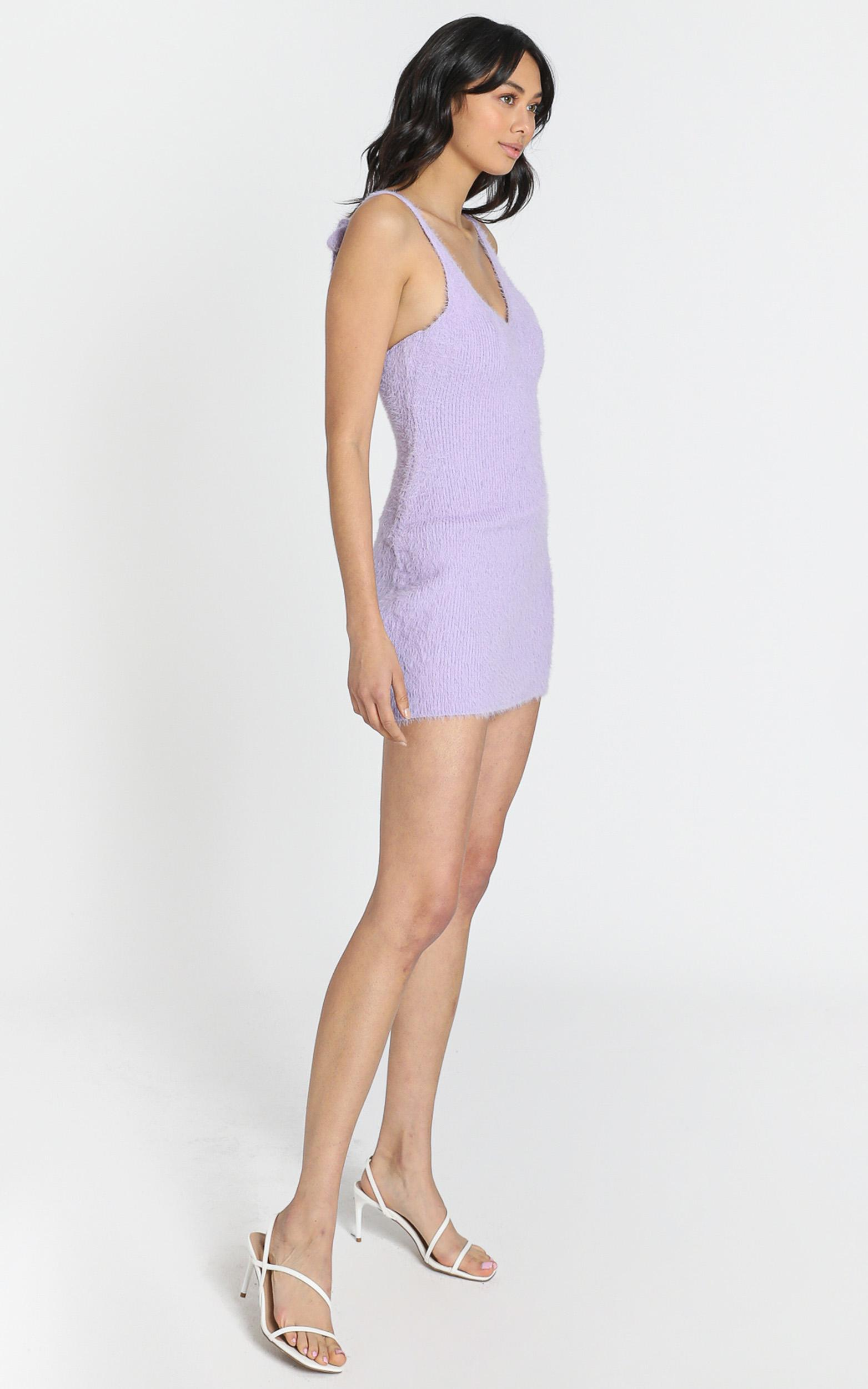 Leni Fluffy Knit Dress in Lilac - 8 (S), Purple, hi-res image number null