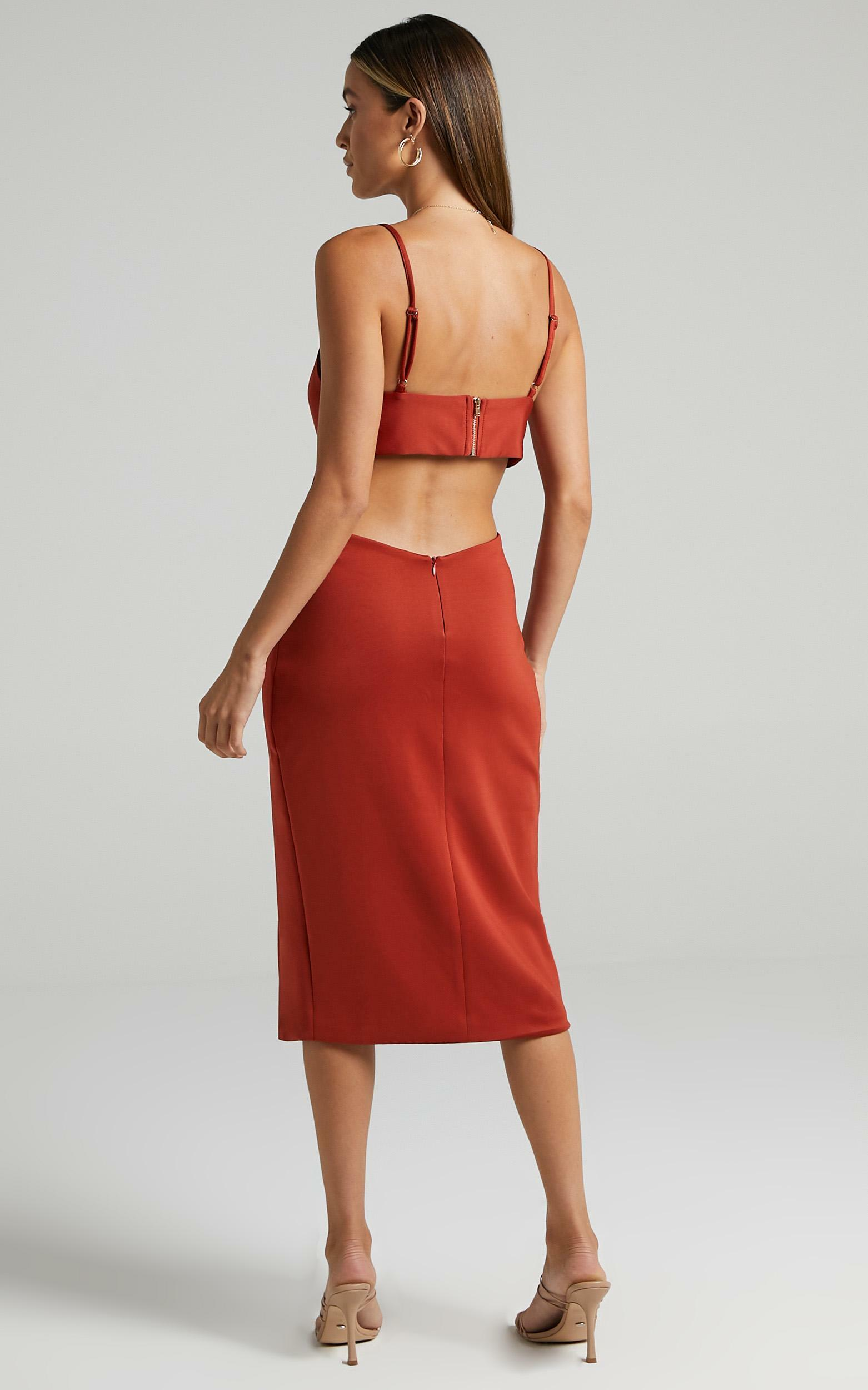Odette Open Back Midi Dress in rust - 6 (XS), Rust, hi-res image number null