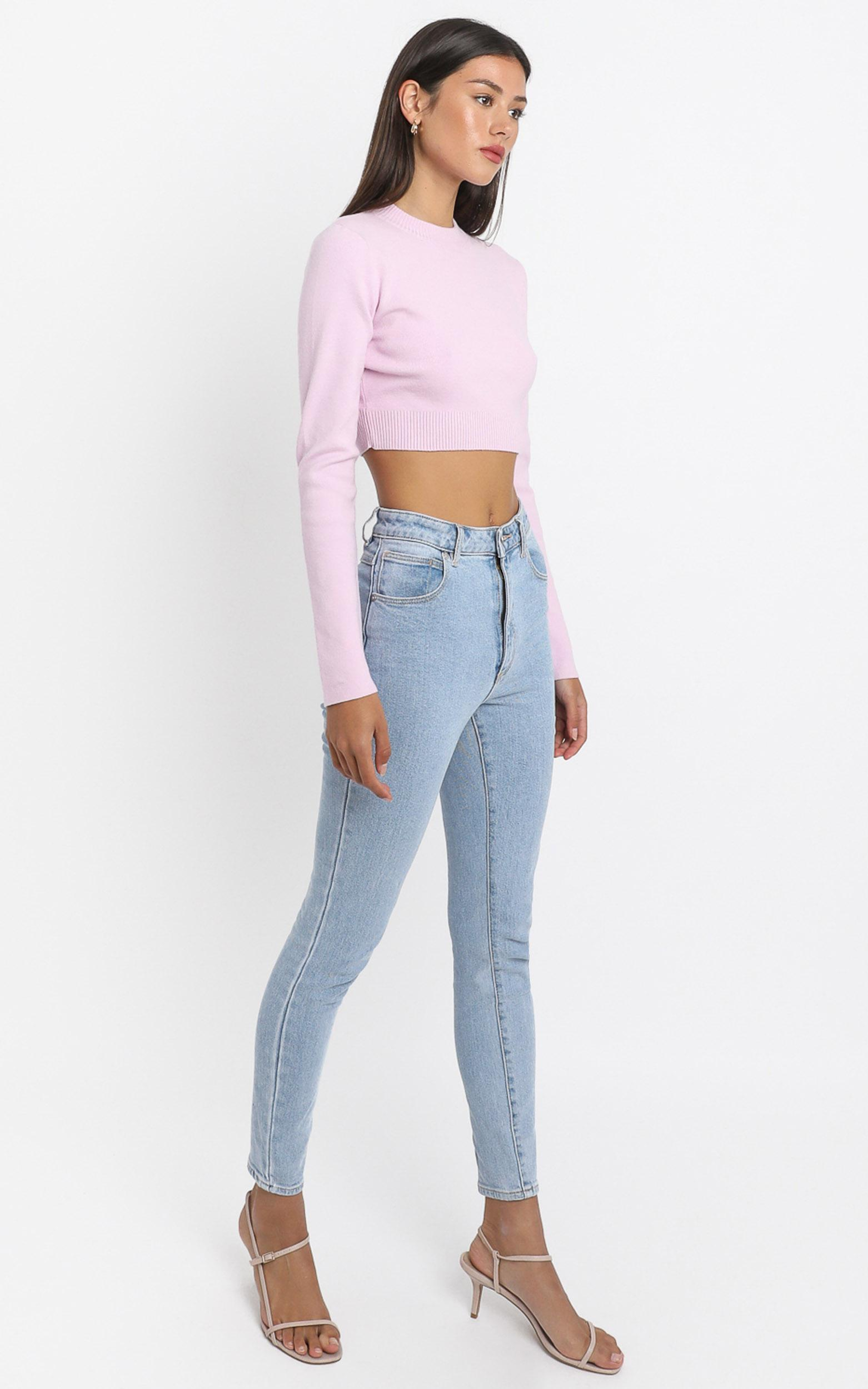 Model Off Duty Knit Top in  Pink - 8 (S), PNK2, hi-res image number null
