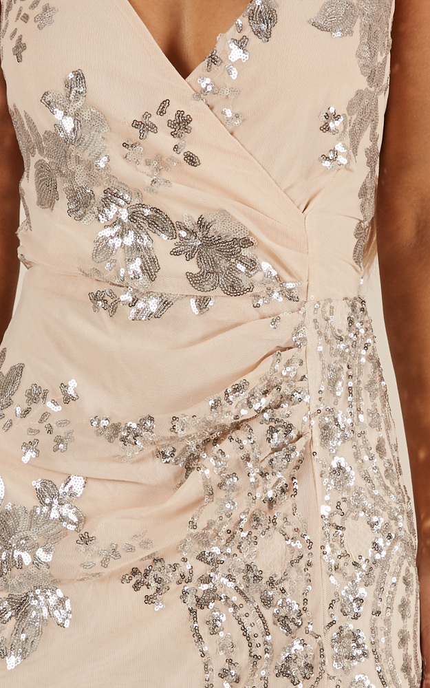 First Dance maxi dress in silver sequin - 14 (XL), Silver, hi-res image number null