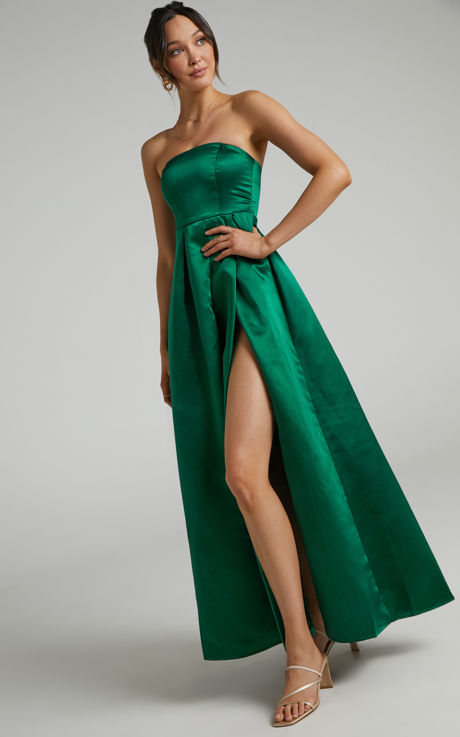 Queen Of The Show Strapless Maxi Dress in Emerald Satin - 04, GRN1, hi-res image number null