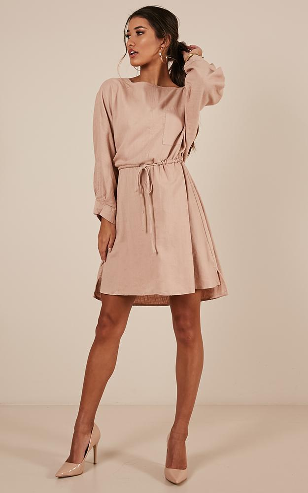 Coming For Your Love dress in blush linen look - 14 (XL), Blush, hi-res image number null