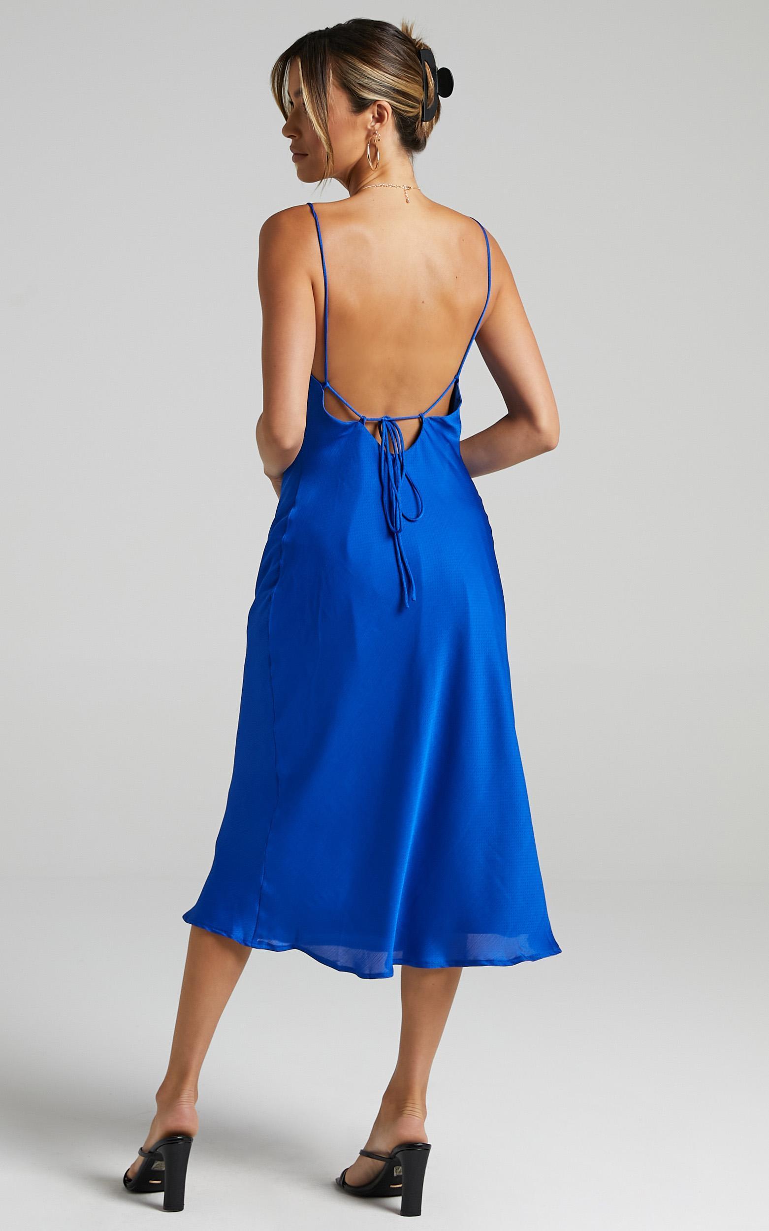 Malmuira Dress in Cobalt Satin - 6 (XS), Blue, hi-res image number null