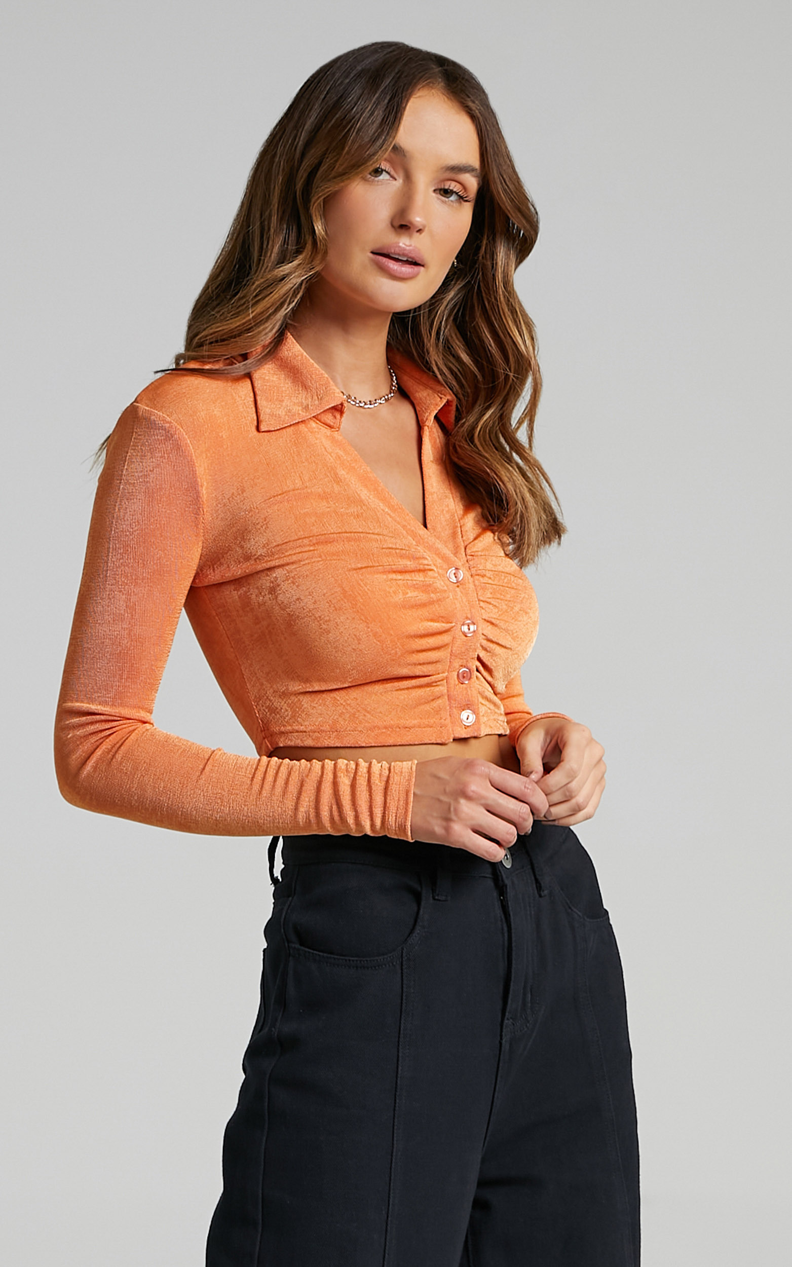 Juana Ruched Long Sleeve Button Up Top in Orange - 20, ORG2, hi-res image number null
