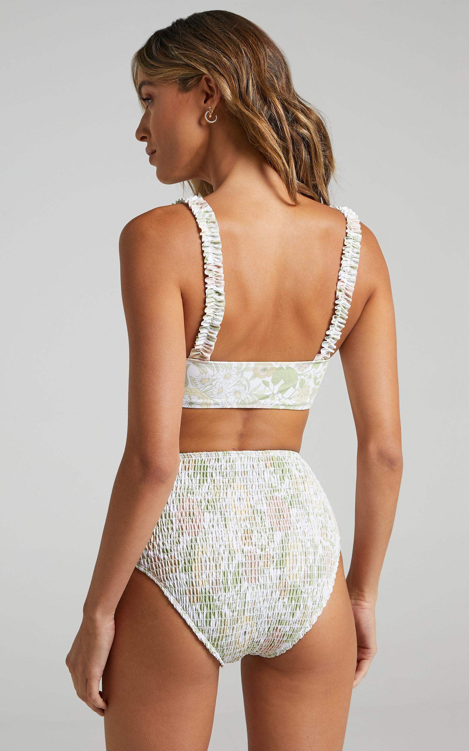 Charlie Holiday - Newport Smocked Brief in Forest Olive Floral - XS, GRN1, hi-res image number null