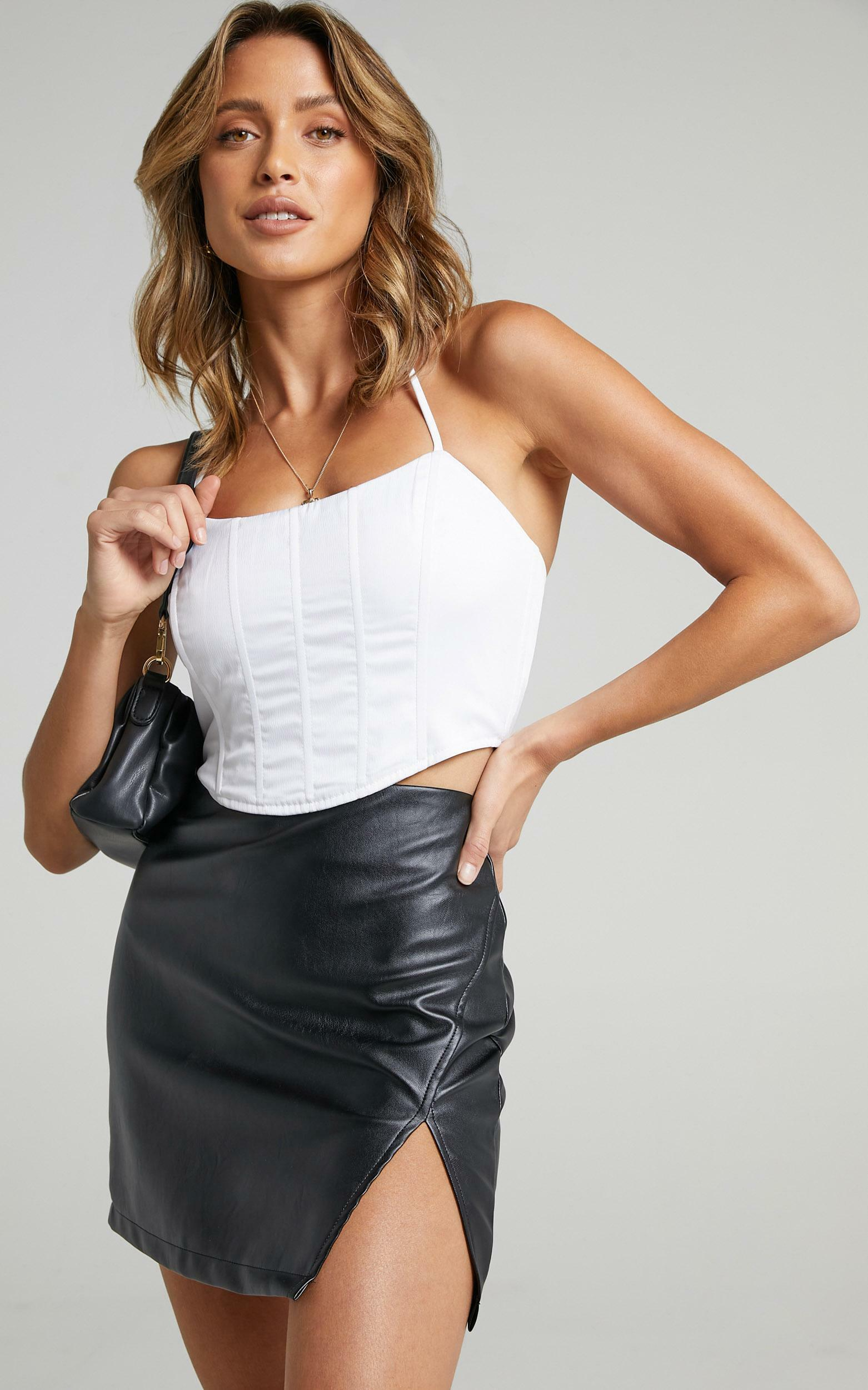 In The Name Of Love  Leatherette Mini Skirt in Black Leatherette - 08, BLK1, hi-res image number null