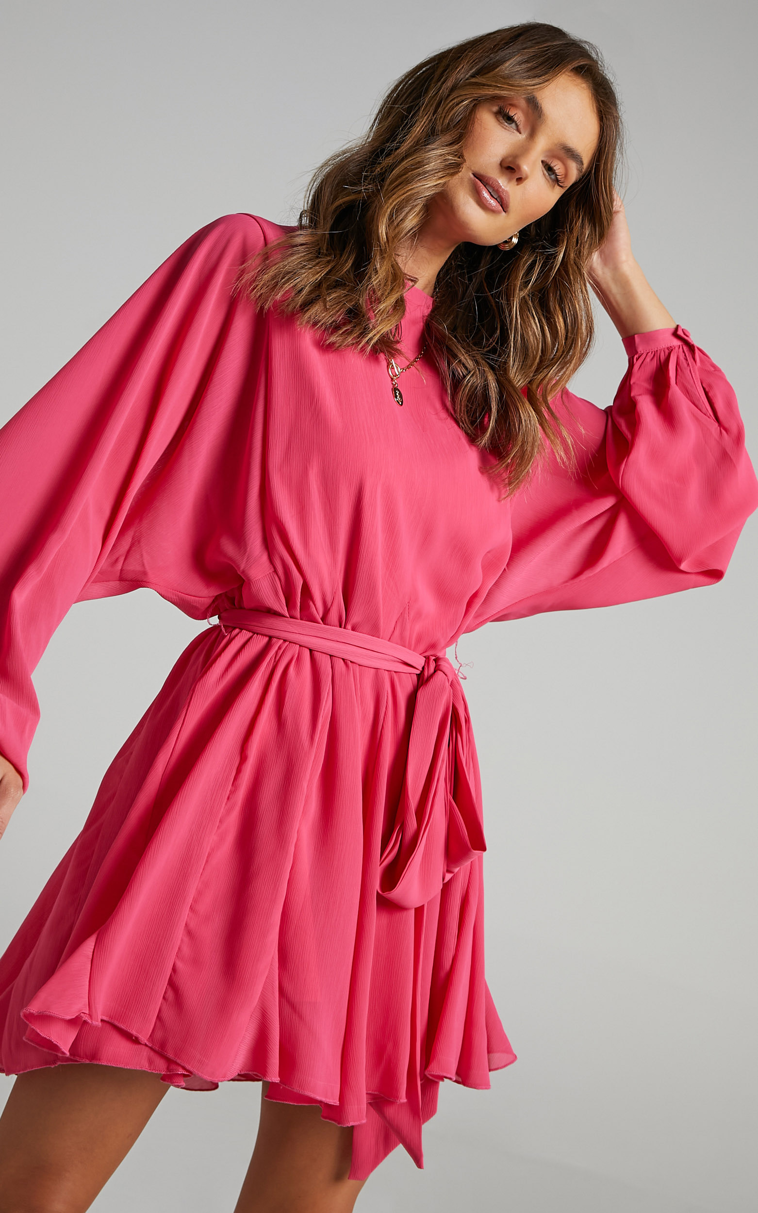 Ancora Tie Front Longsleeve Mini Dress in Pink - 06, PNK1, hi-res image number null