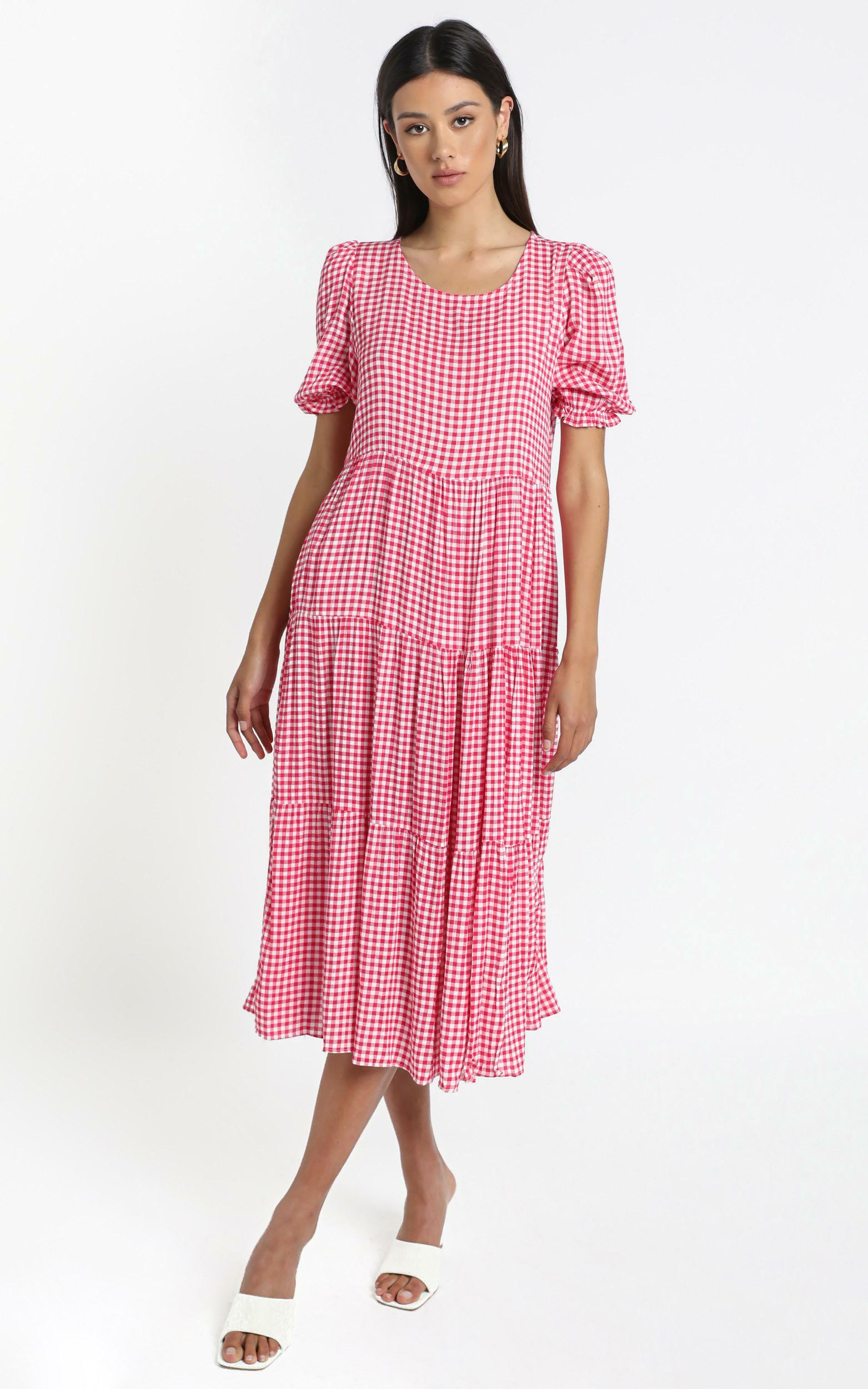 Orla Dress in Pink Check - 14 (XL), Pink, hi-res image number null