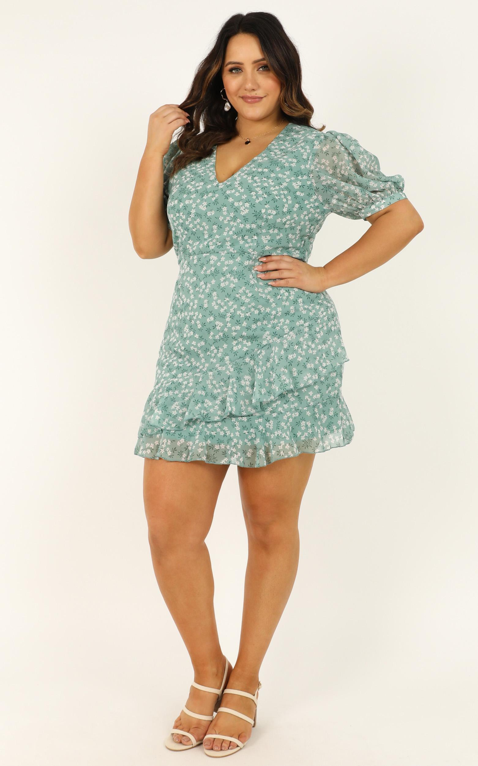 Chill Zone Dress in sage floral - 20 (XXXXL), Sage, hi-res image number null