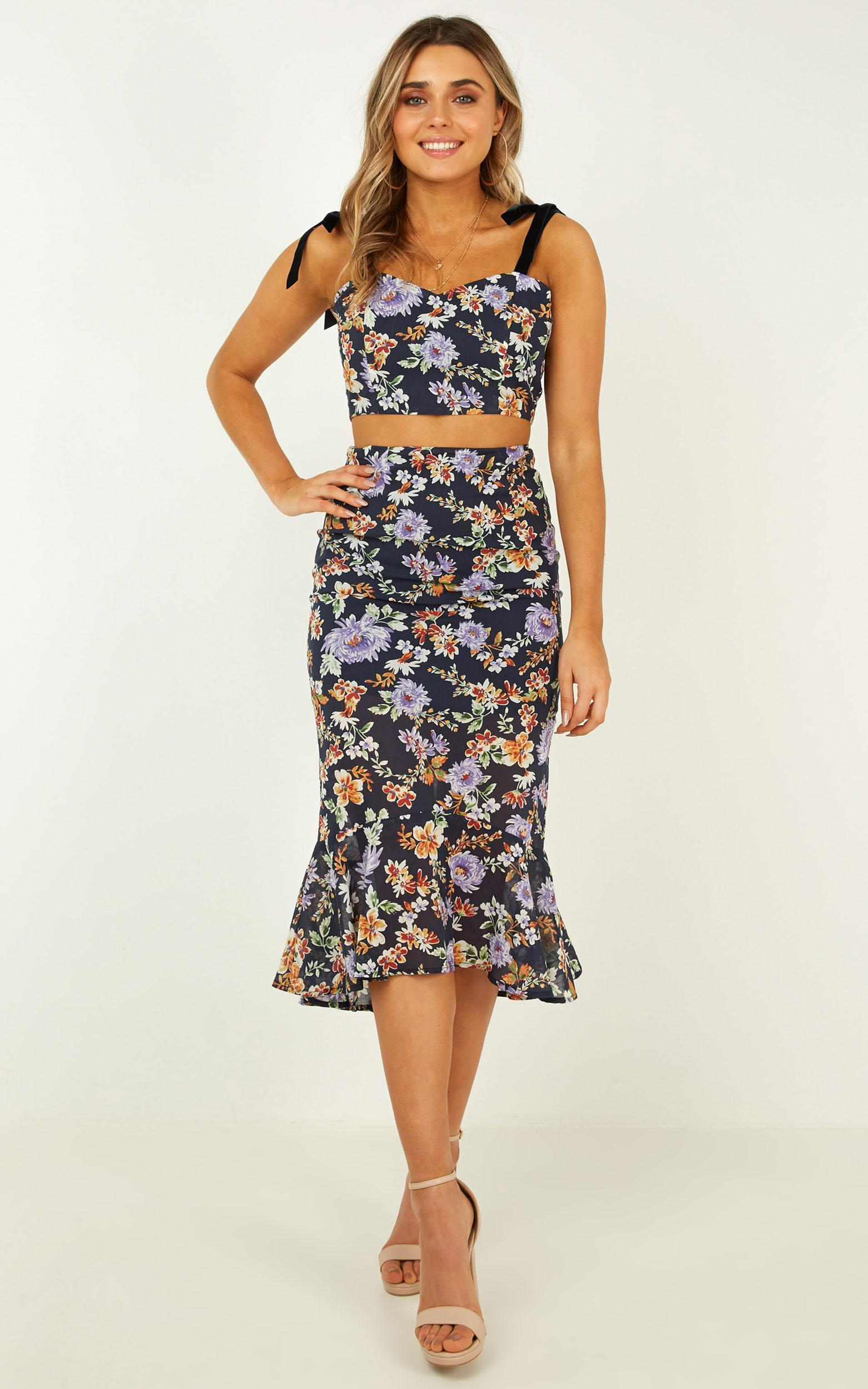 I Never Thought Two Piece Set In navy floral - 14 (XL), Navy, hi-res image number null