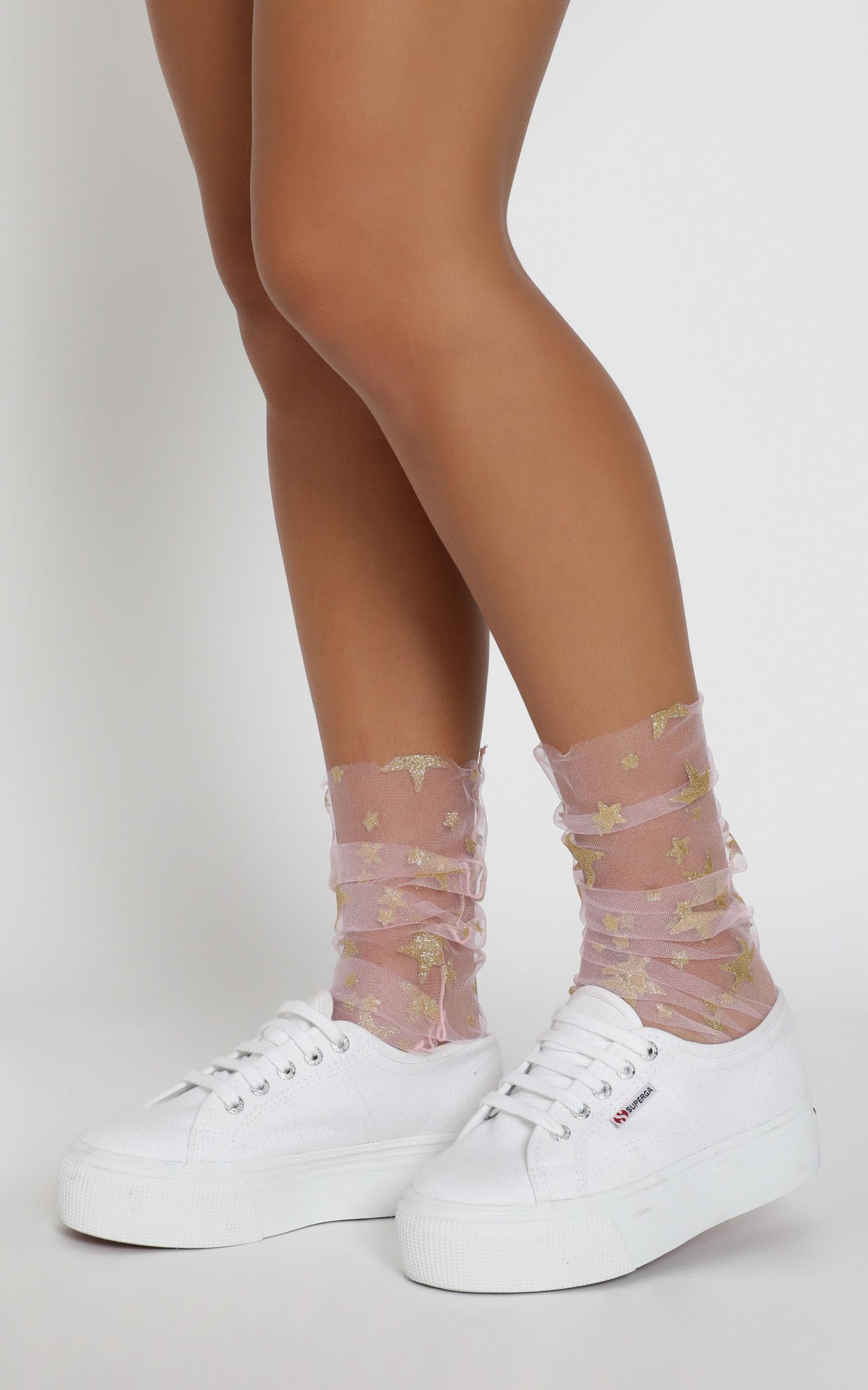 One Love Glitter Star Socks In Pink, , hi-res image number null