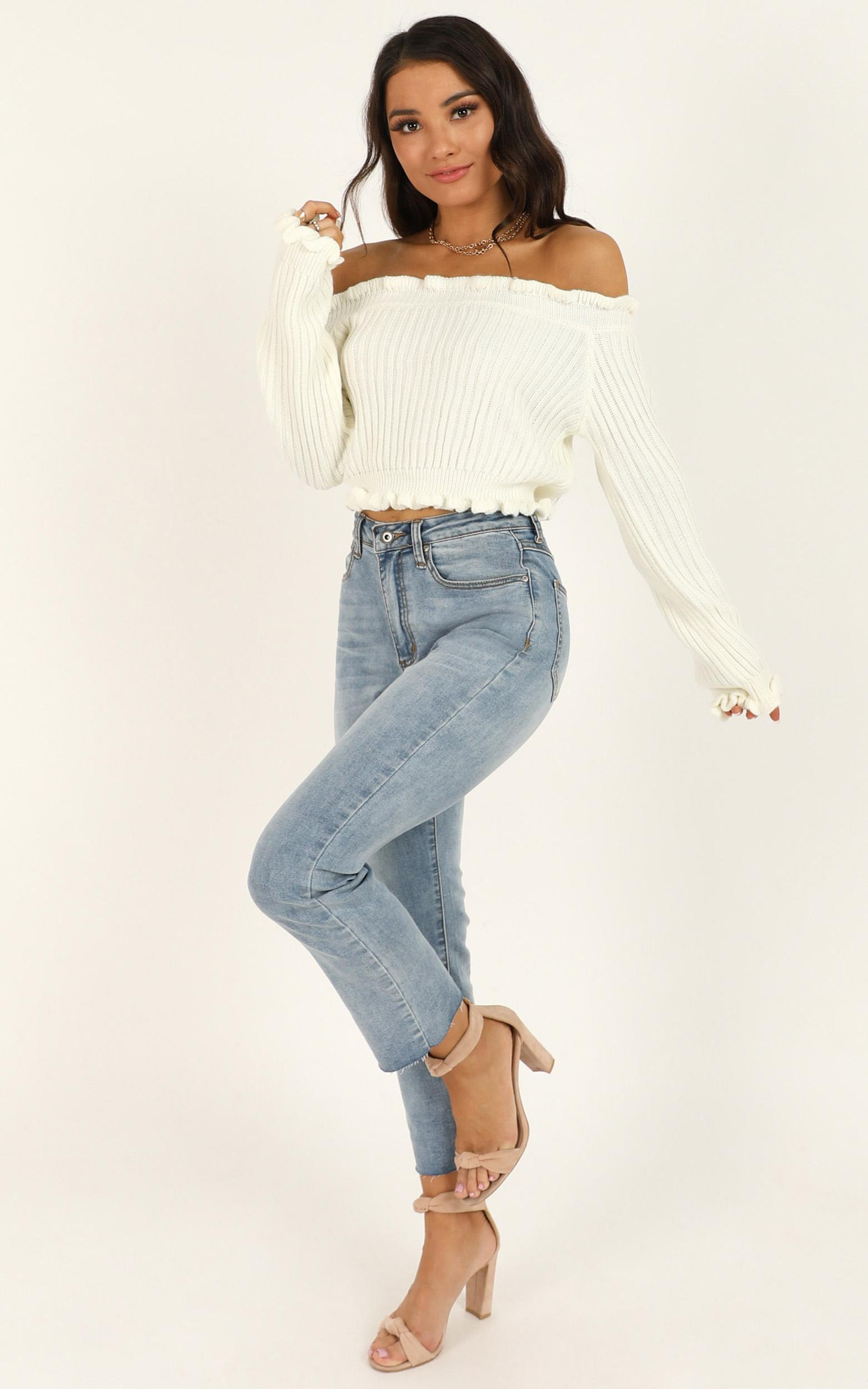 Caught You Staring Knit Jumper in white - 4 (XXS), White, hi-res image number null