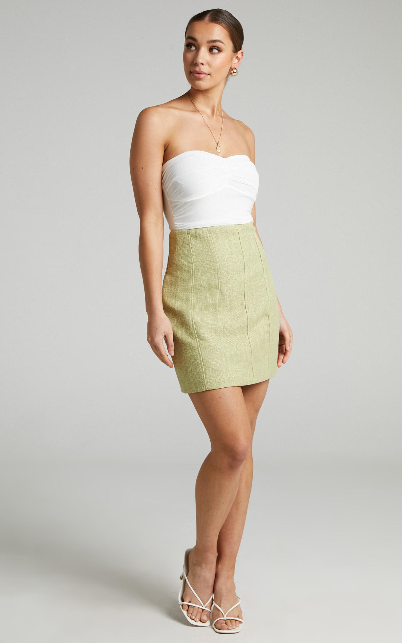 Miree Mini Panelled Tweed Skirt in Green - 04, GRN2, hi-res image number null