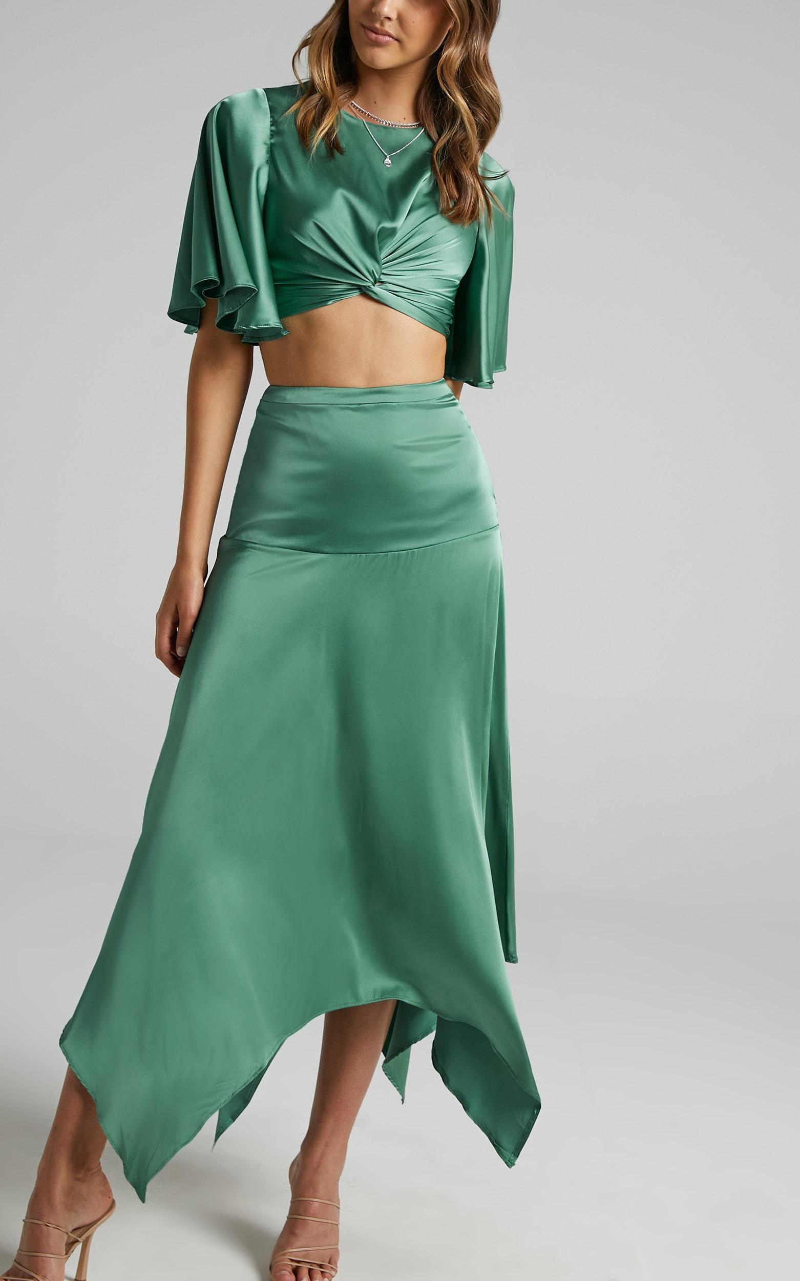 Chione Two Piece Set in Jade Satin - 06, GRN1, hi-res image number null