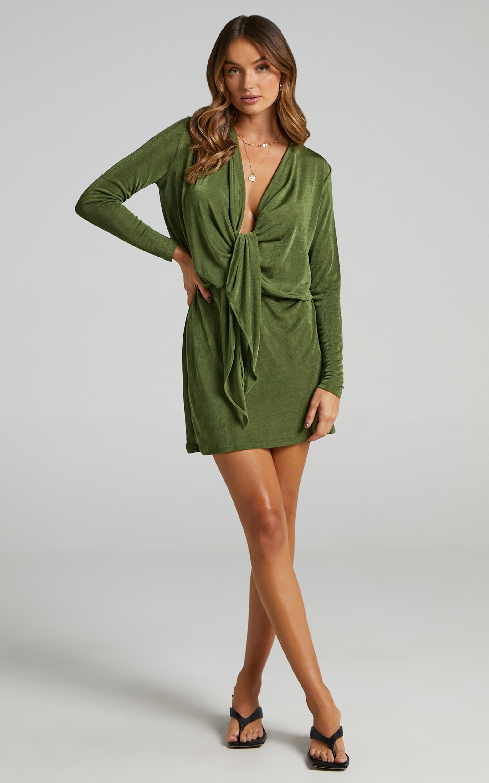 Kierah Plunging Center Tie Mini Dress in Olive - 06, GRN2, hi-res image number null