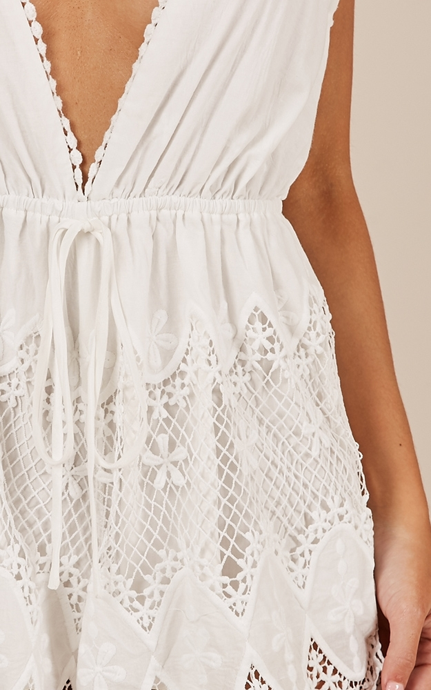 Chase The Sun Playsuit in white crochet - 12 (L), White, hi-res image number null